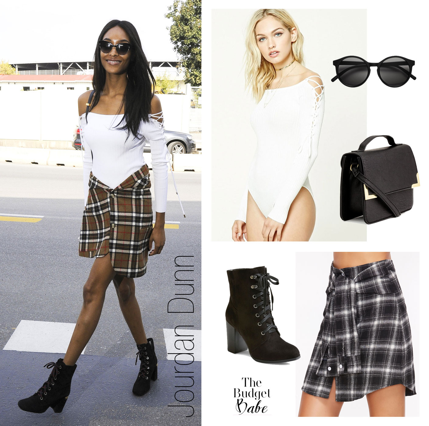 Get Jourdan Dunn's off-the-shoulder bodysuit and plaid skirt look for less.