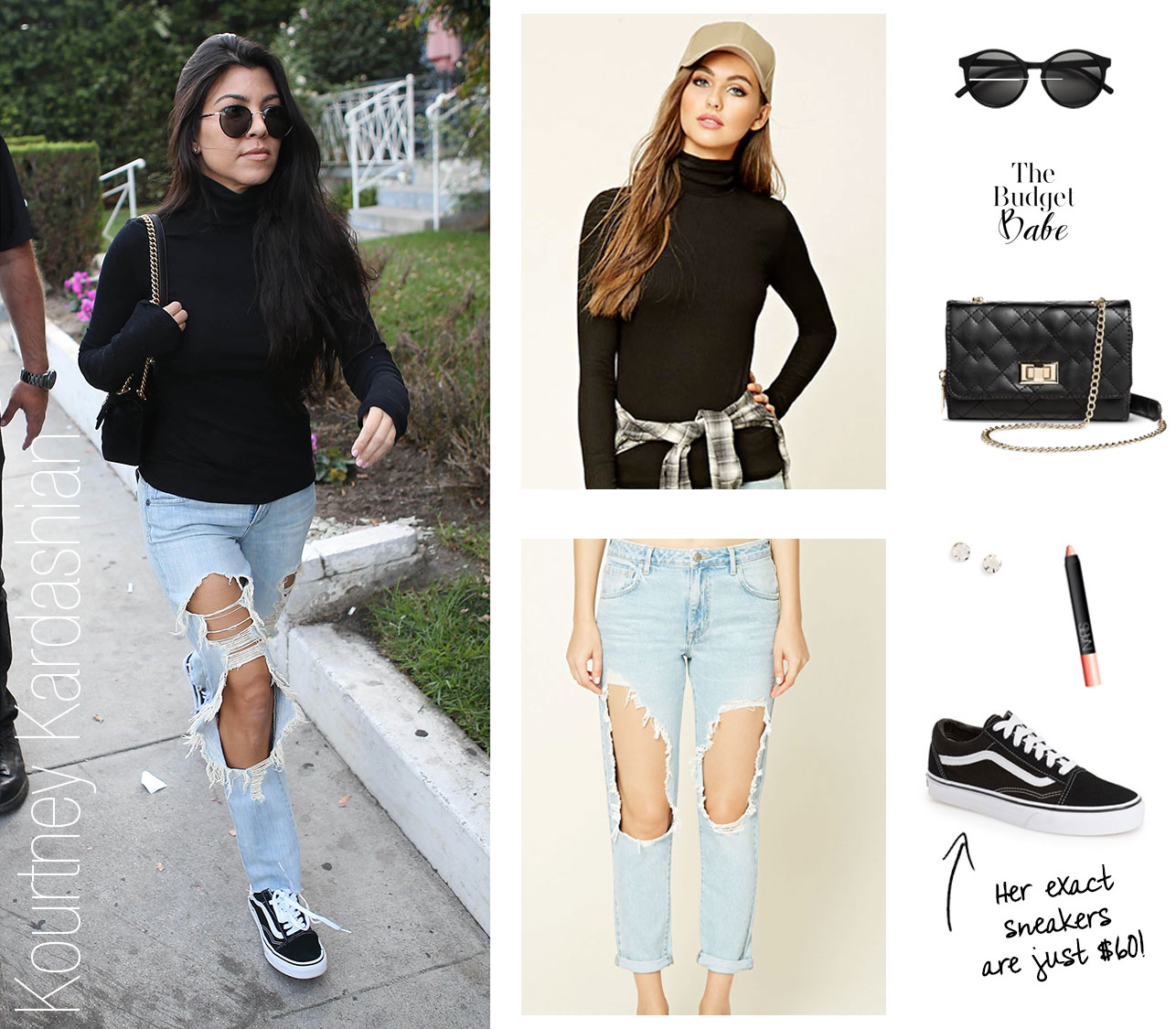 Shop Kourtney Kardashian's turtleneck top and destroyed jeans look for less.