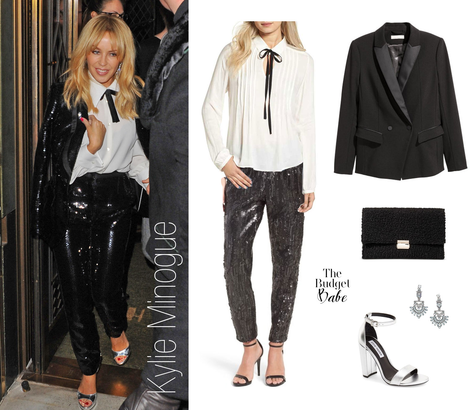 Try sequin pants with a bow tie blouse like Kylie Minogue for your next holiday party.
