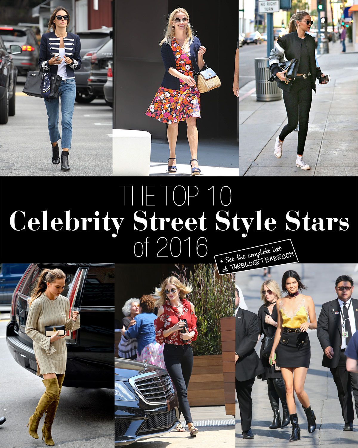 See which ten celebs topped our list of best-dressed street style stars in 2016.