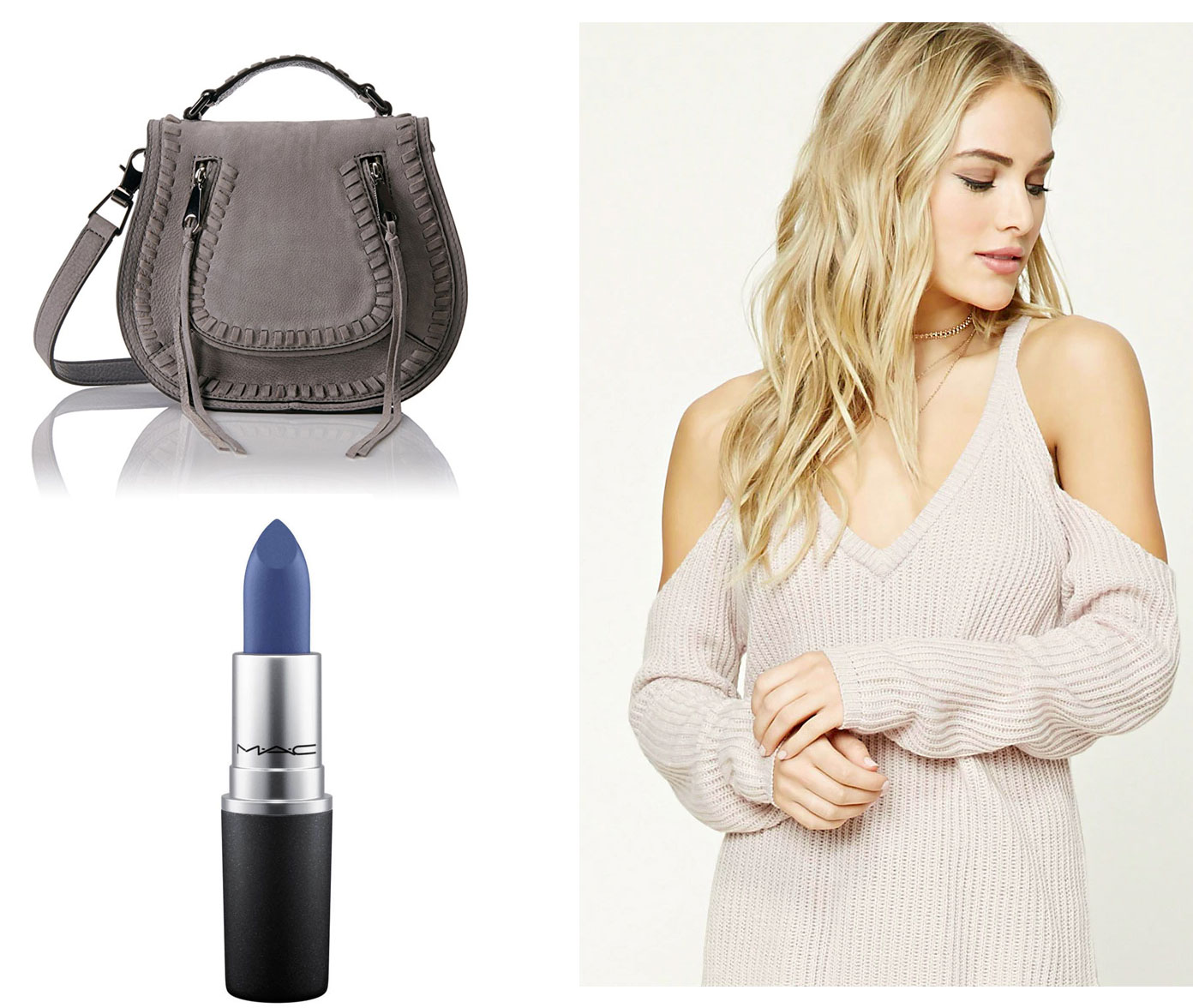 We're loving blue lipstick and cold shoulder right now.