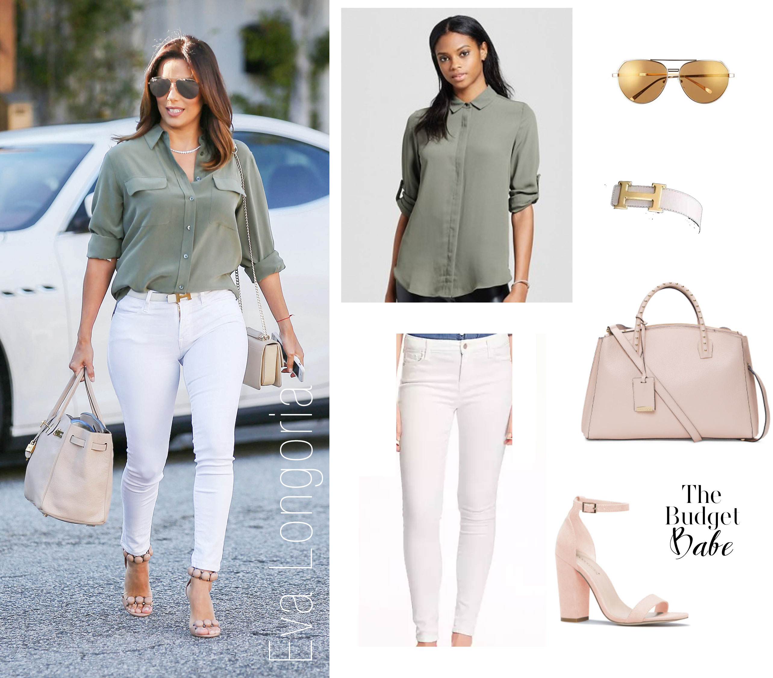 Eva Longoria looks chic in white denim and an olive blouse.