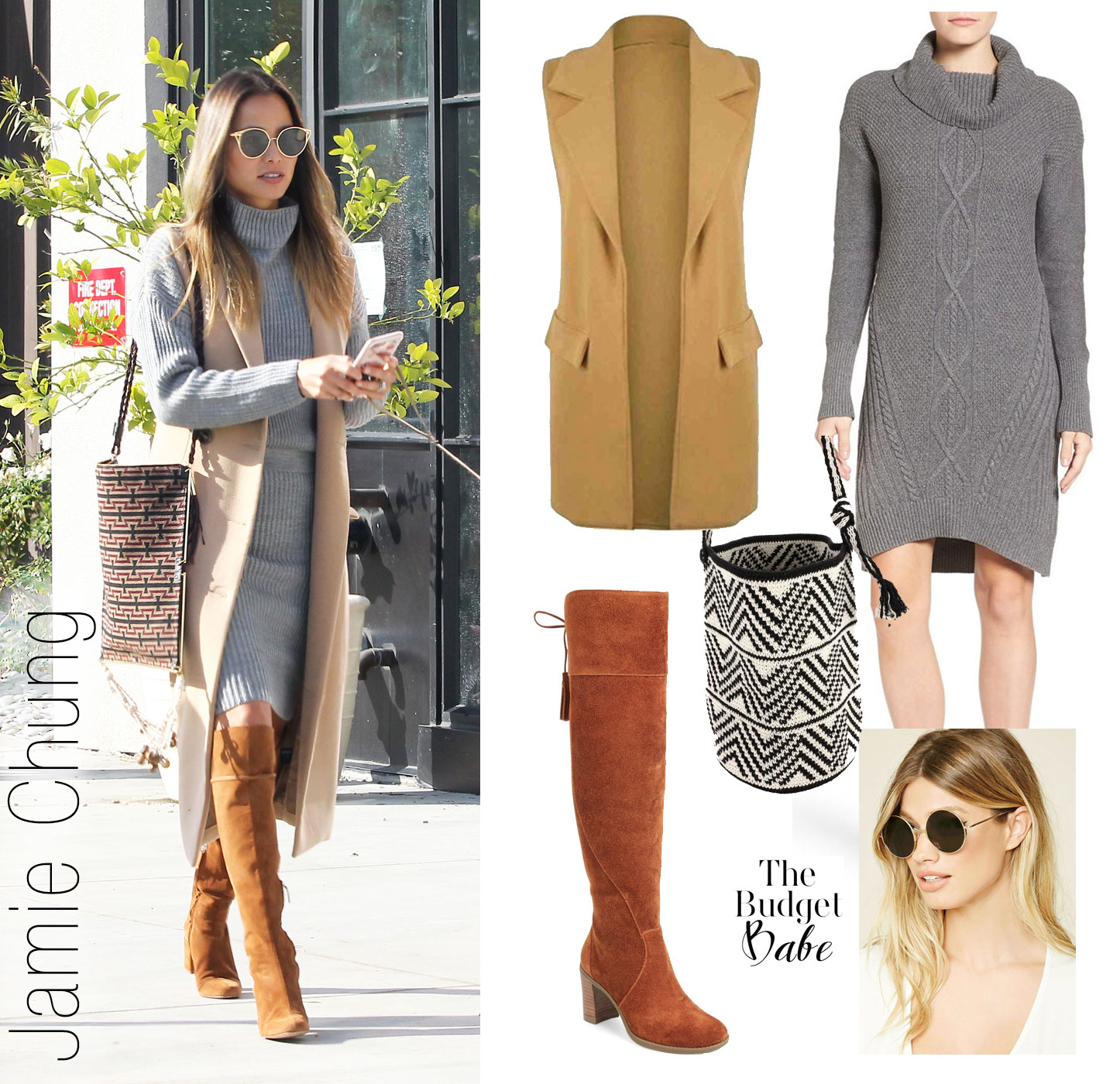 Recreate Jamie Chung's grey sweaterdress and camel vest look for less.