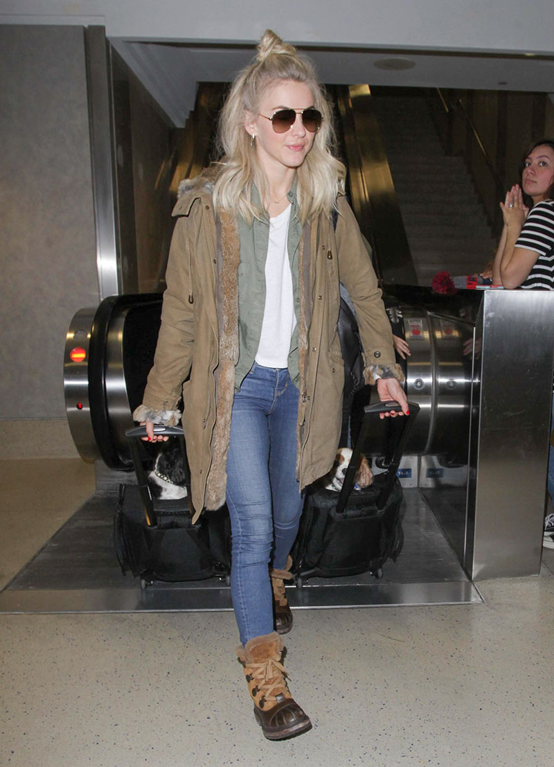 Julianne Hough looks winter chic in a parka and snow boots.