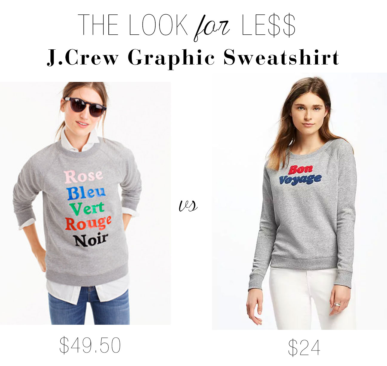 The Look for Less: J.Crew French Colors Graphic Sweatshirt - The ...
