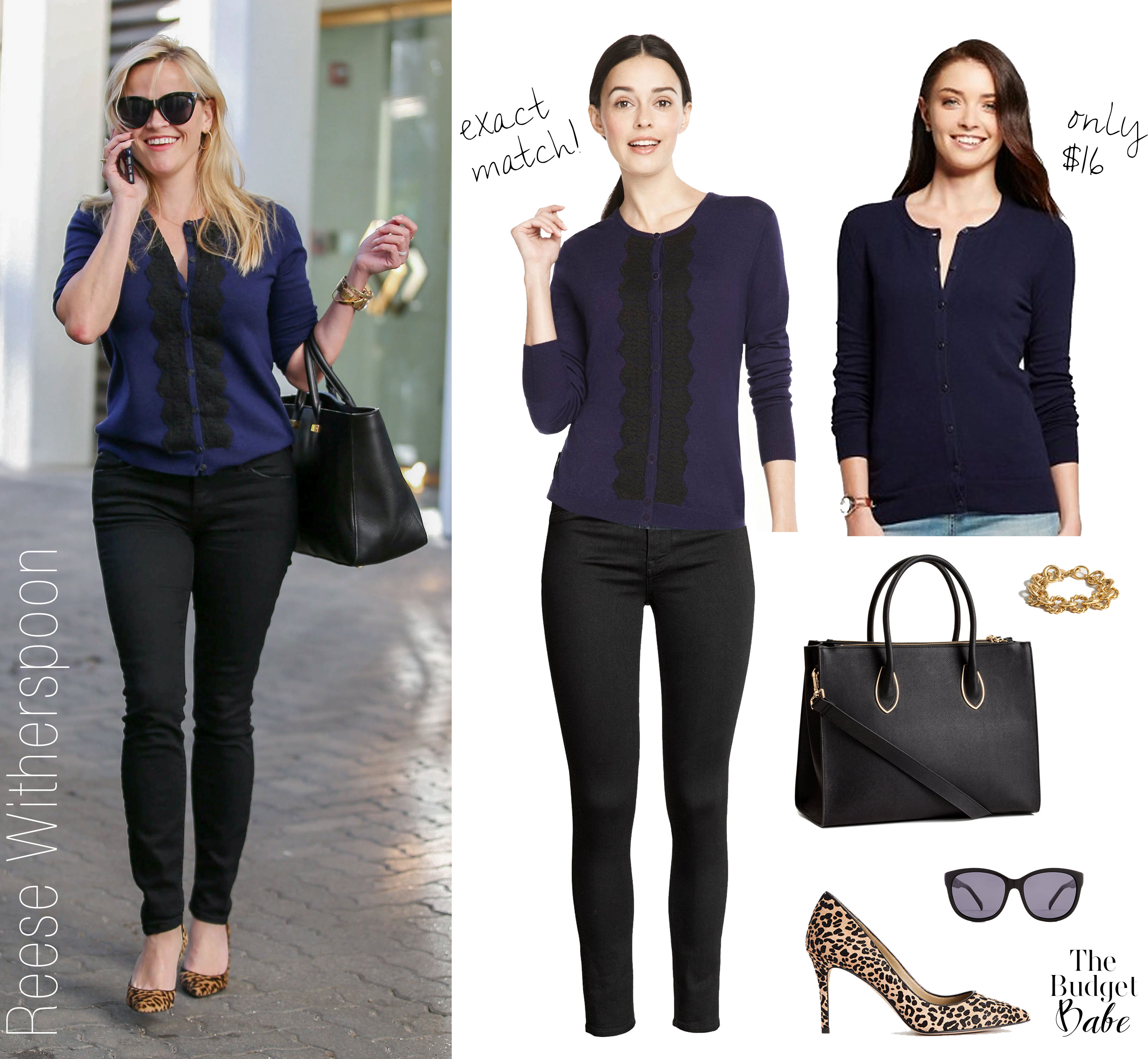 Reese Witherspoon looks chic in a lace front cardigan from her Draper James line.