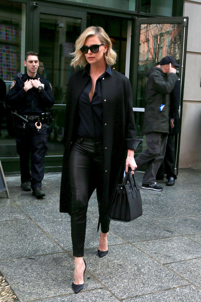 Charlize Theron looks chic in all black.