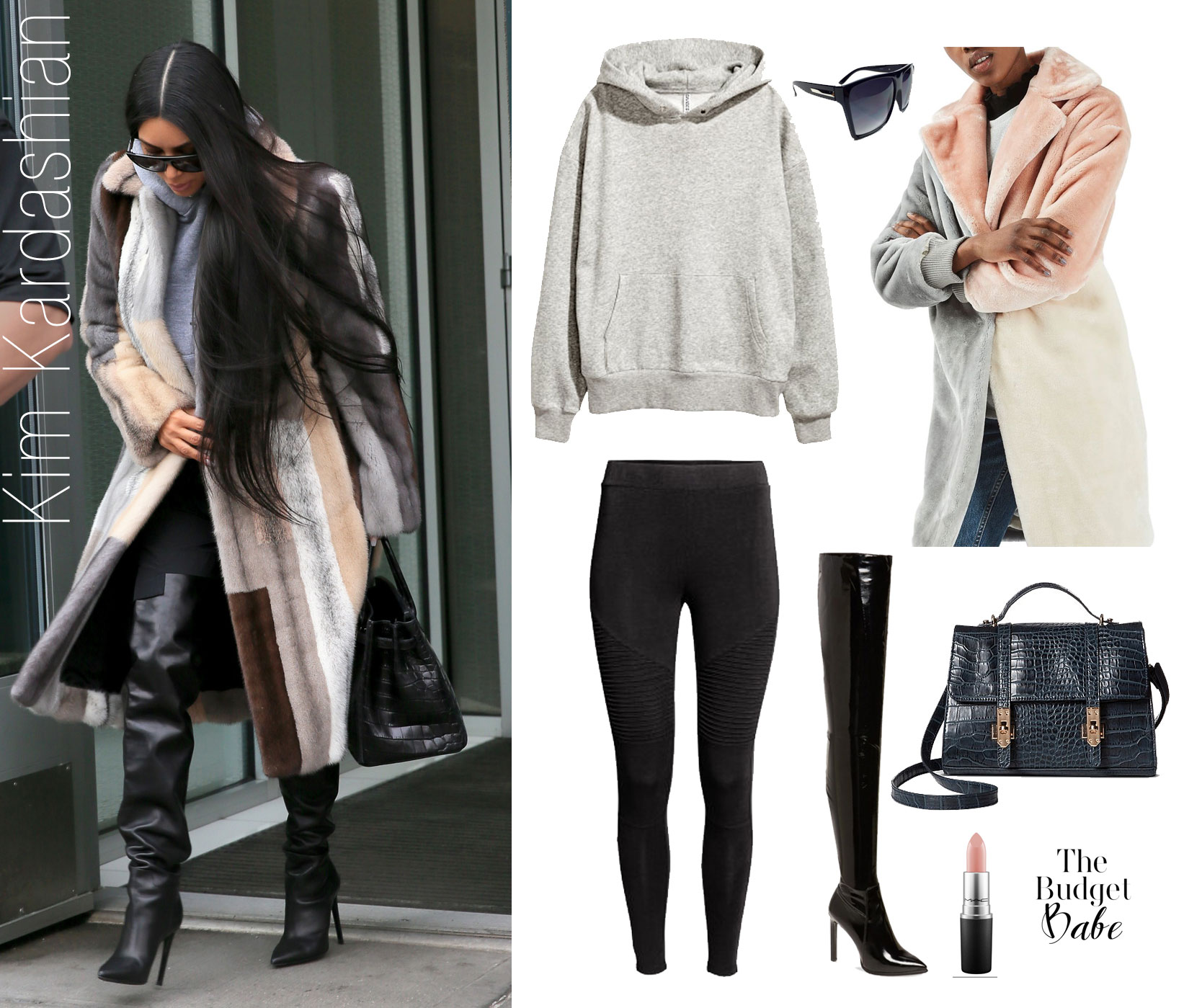 Shop Kim Kardashian's multi-color fur coat, hooded sweatshirt and over-the-knee boots look for less.