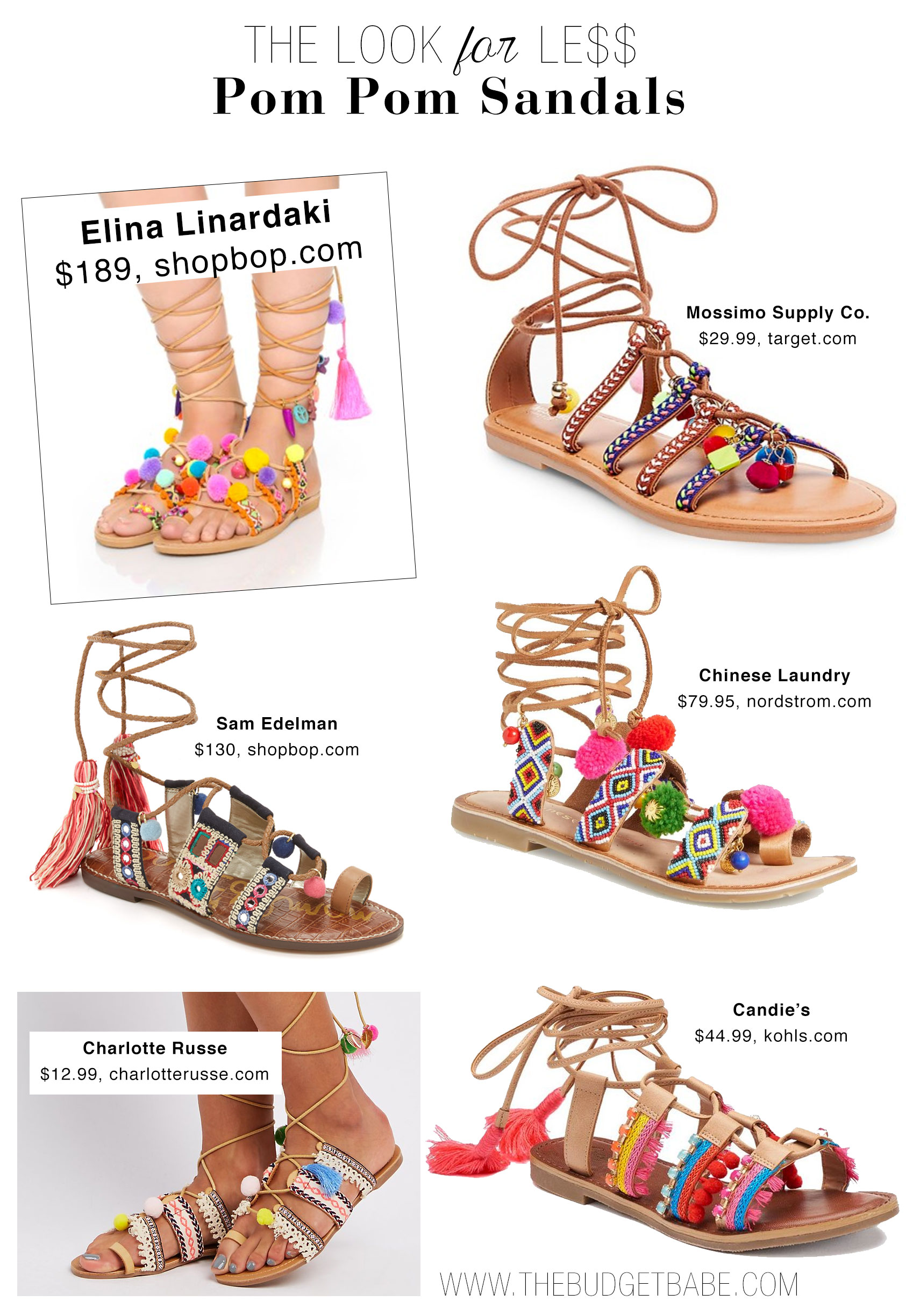 e73540de30f The Look for Less  Pom Pom Sandals - The Budget Babe