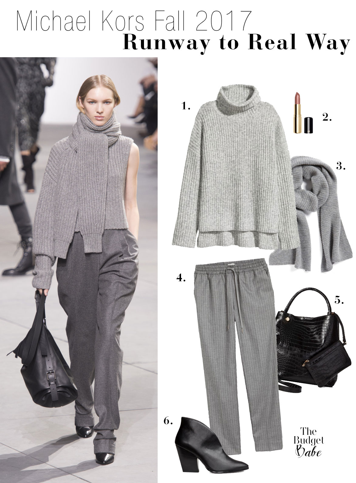 Take style cues from the Michael Kors Fall 2017 runway show in this monochromatic gray power look.
