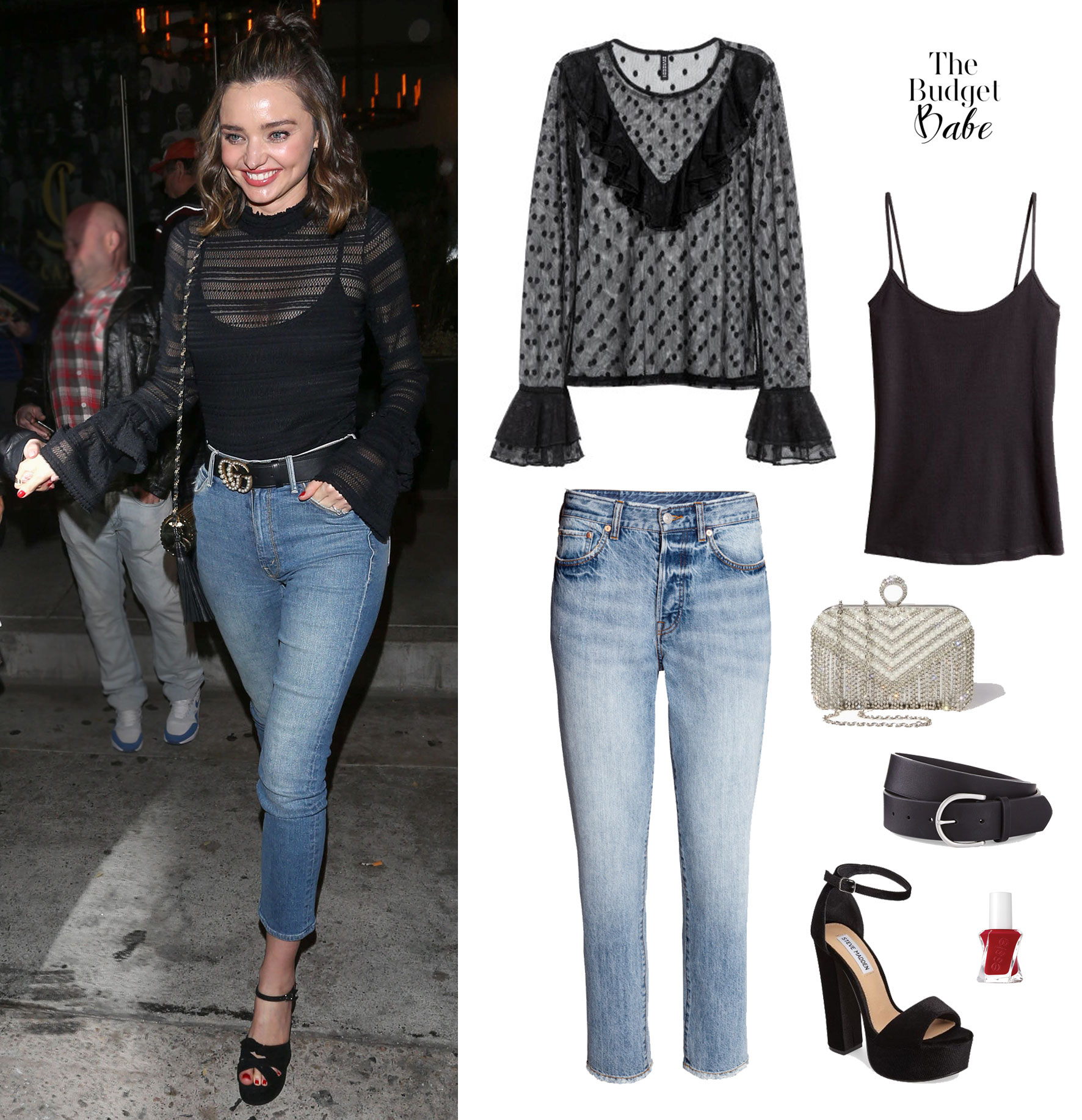 a0f7715ee84 Sheer Genius  Miranda Kerr s Black Lace Blouse and Crop Jeans Look ...