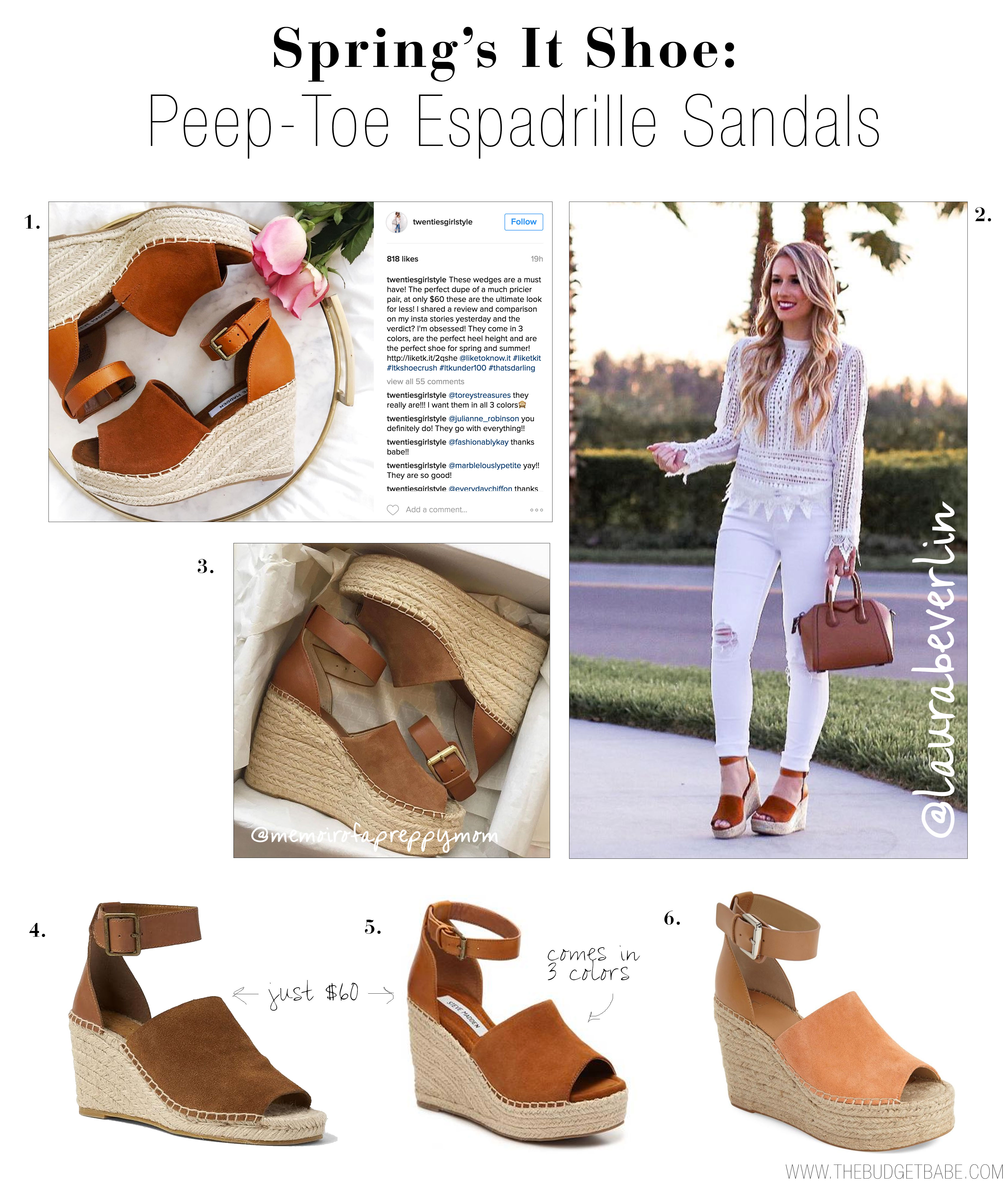 "Spring's It Shoe: Peep Toe Espadrille Wedge"" alt=""Spring's it shoe looks like it's going to be a peep-toe espadrille sandal with a chic and functional ankle strap."