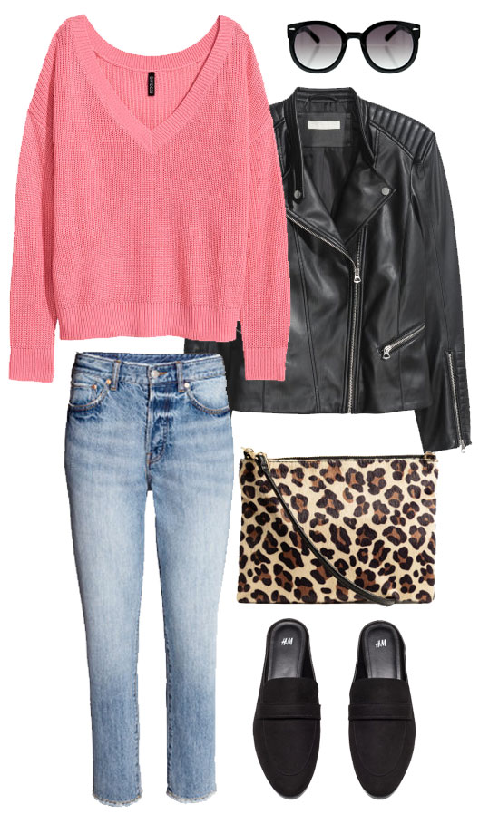 Try pink for spring transitional dressing with a pop of leopard and black extras.