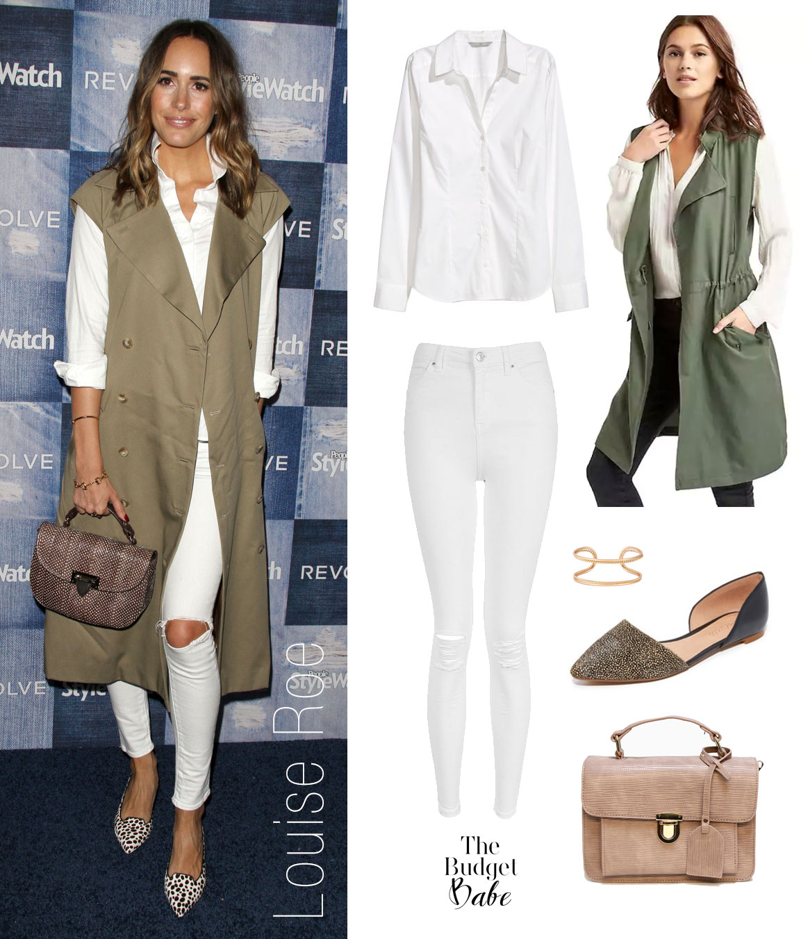 Louise Roe wears a white shirt and white jeans topped with a military style trench vest and pointy toe flats.