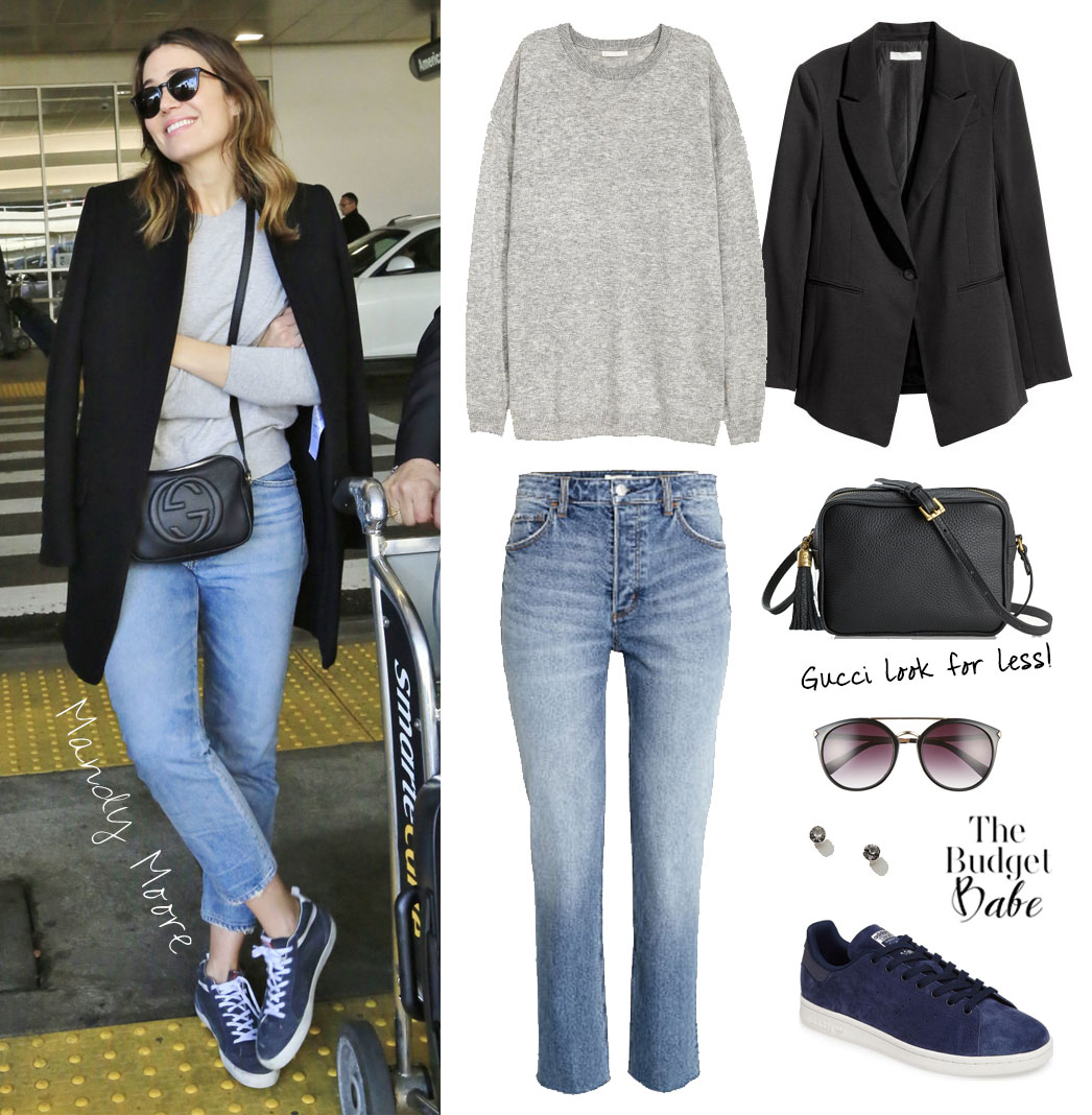 4455e896d46d0 Mandy Moore s Grey Sweater and Gucci Crossbody Bag Look for Less ...