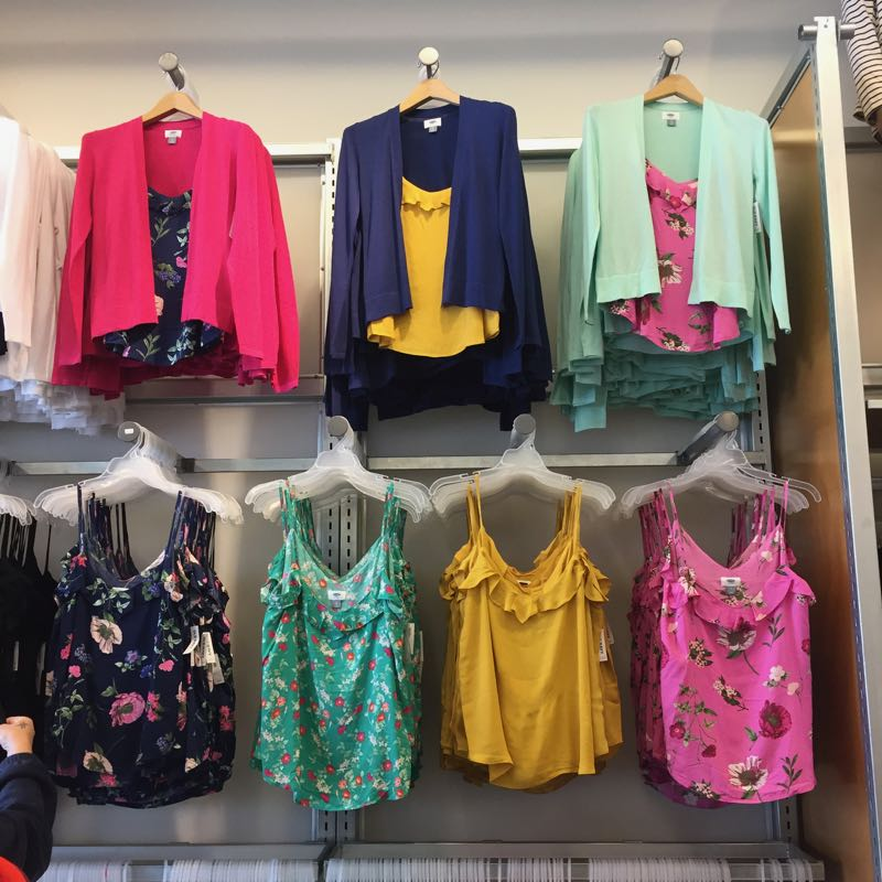 Old Navy has bright colors and fun prints for spring.