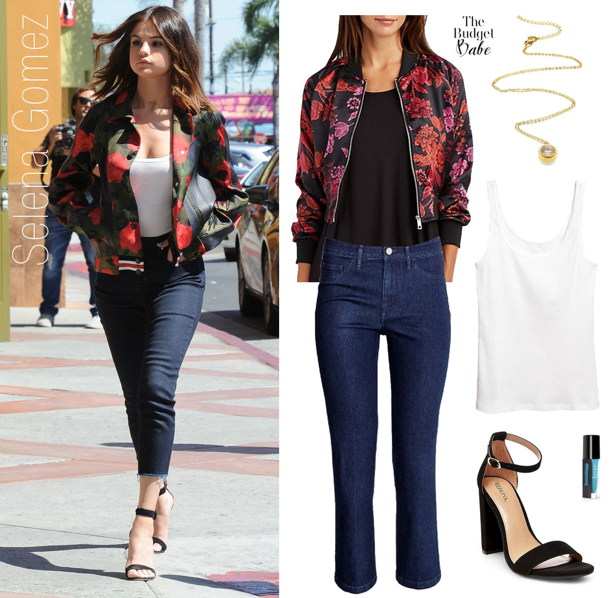 Selena Gomez slays in a red rose bomber jacket and skinny jeans.