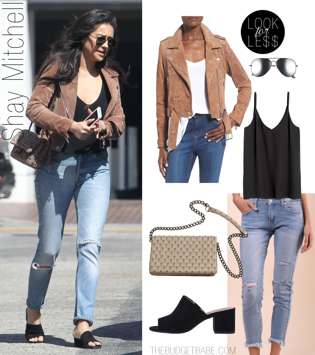 Shay Mitchell shows off her casual style in a tan moto jacket and black mules.