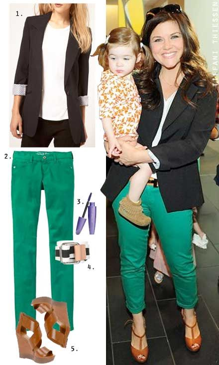 Tiffani Thiessen wears green jeans with a white tee, black blazer and cognac wedge sandals.