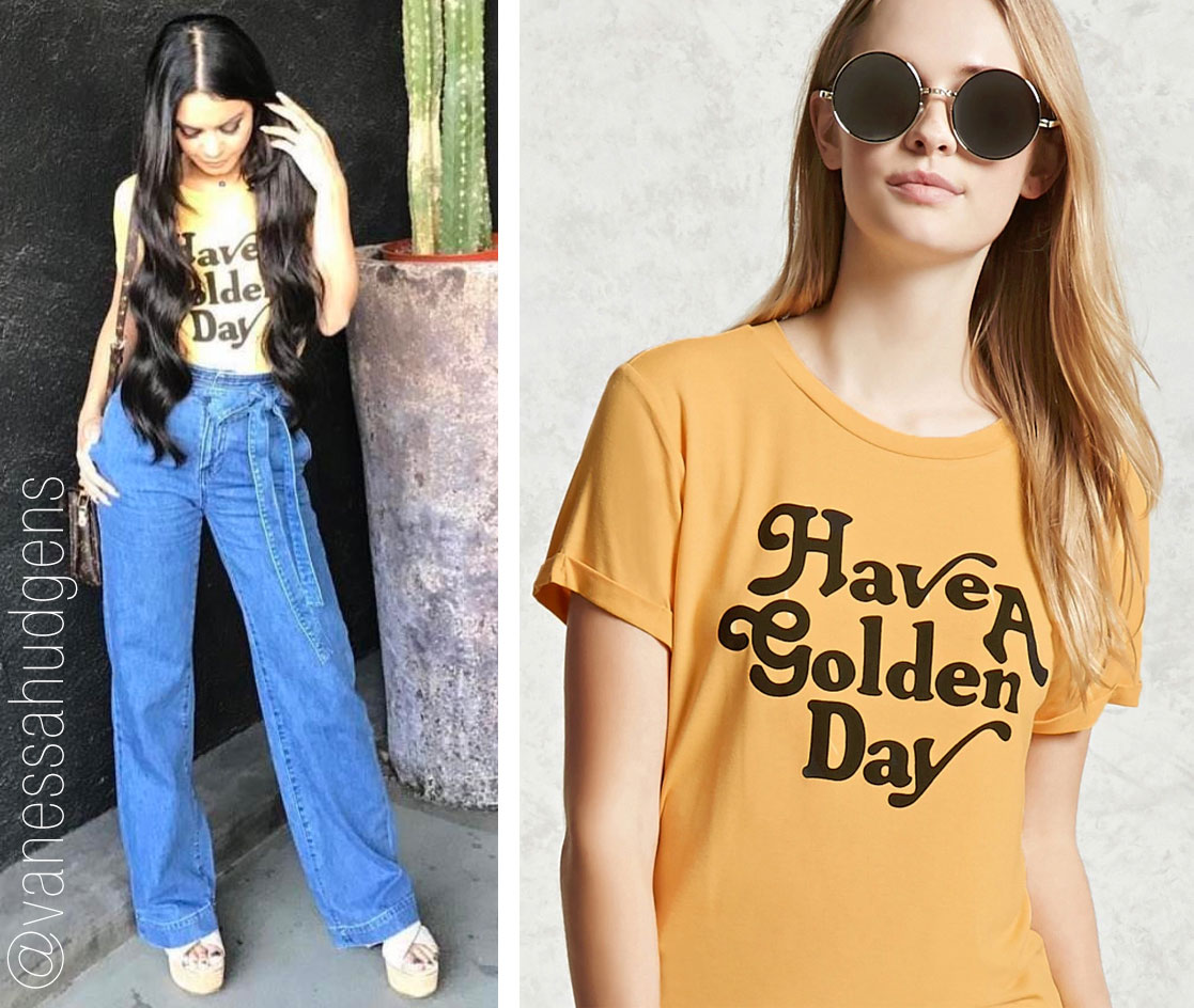 Vanessa Hudgens' cheerful slogan tee is under $11.