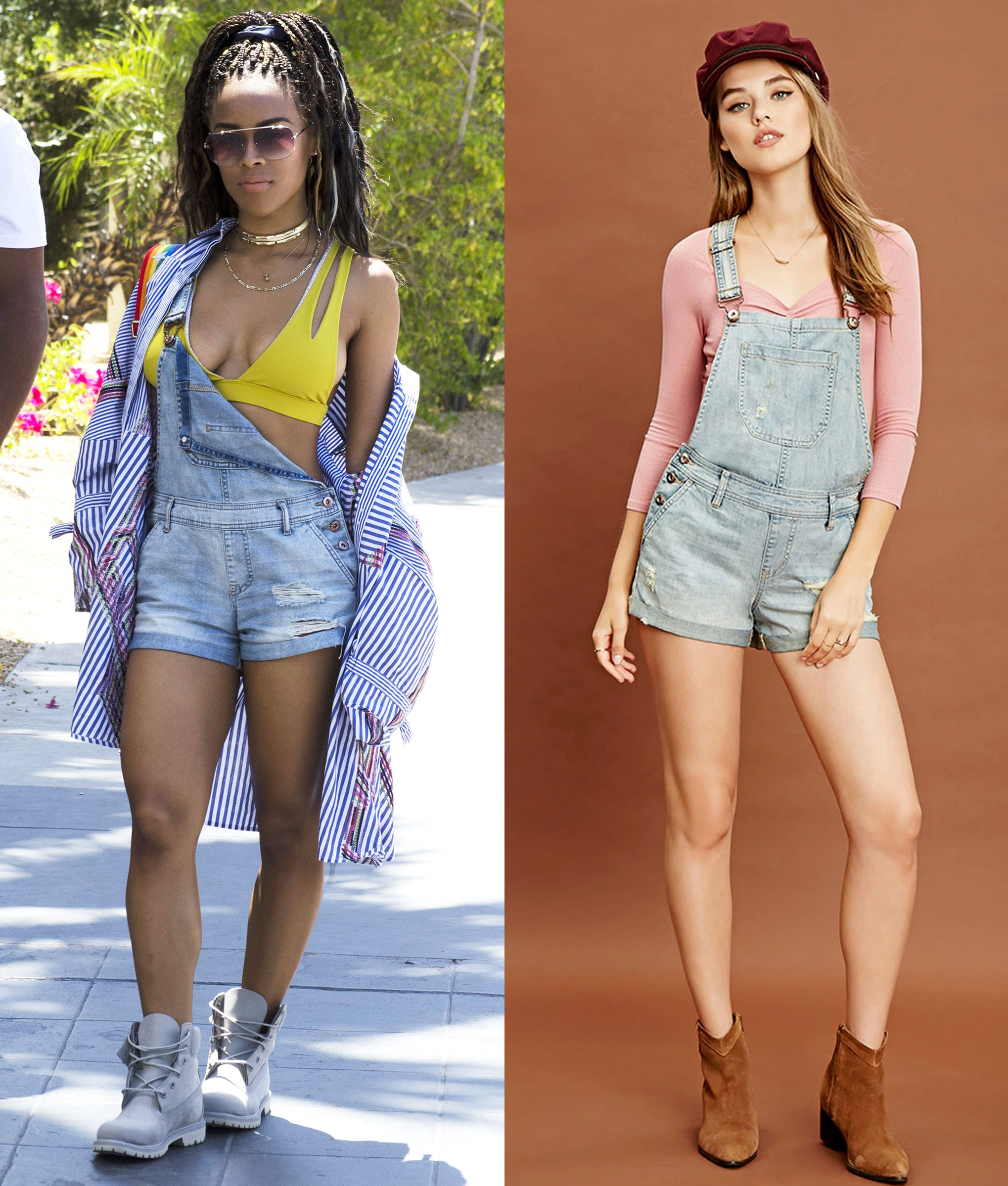 Serayah McNeill wears denim short overalls and a yellow sportsbra.