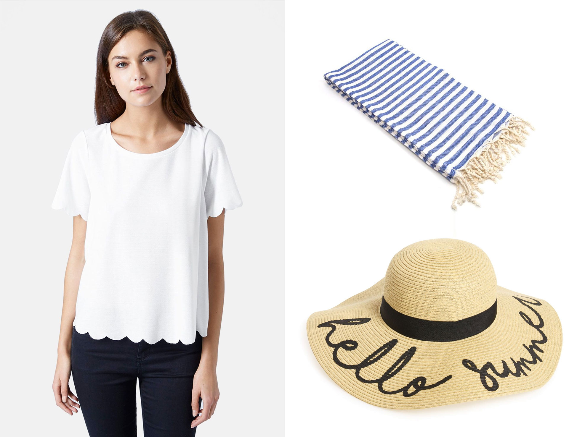 Scallop tee, beach towel and hello summer straw hat