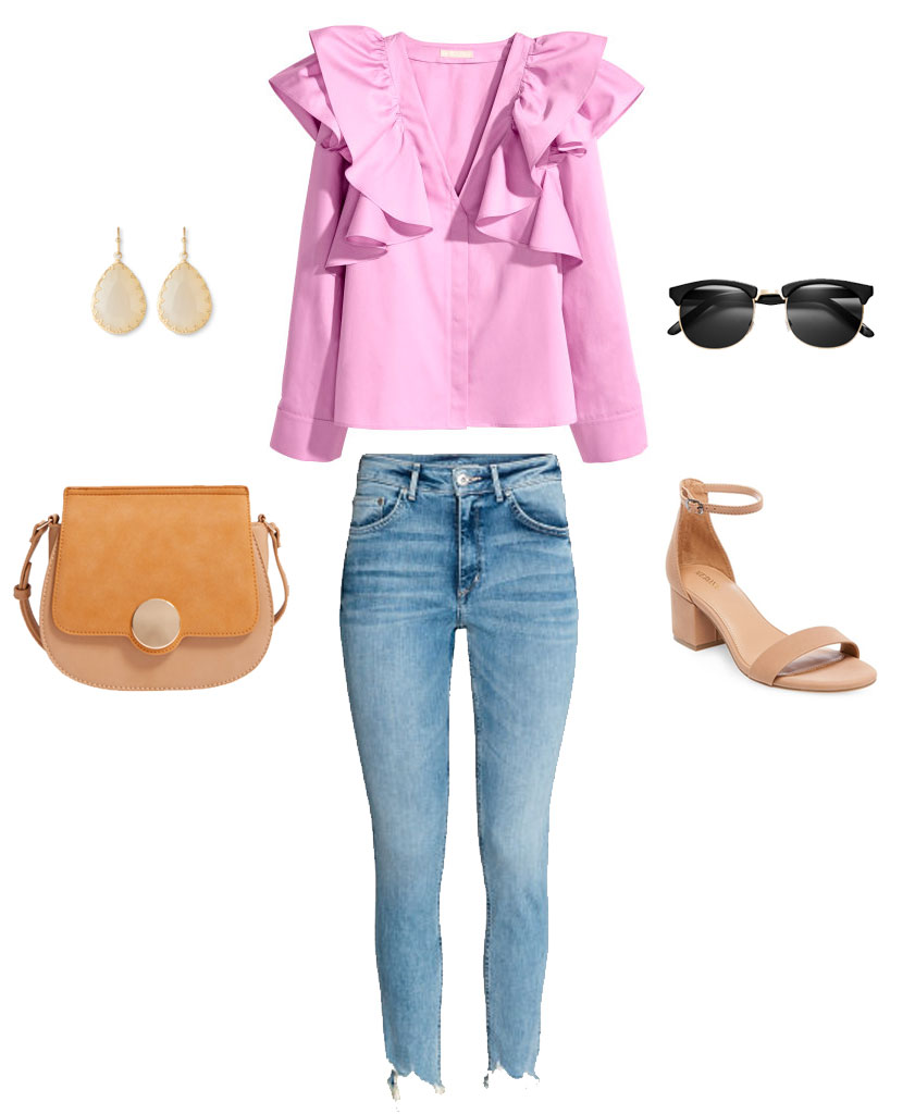 Spring outfit idea with a pink ruffle top