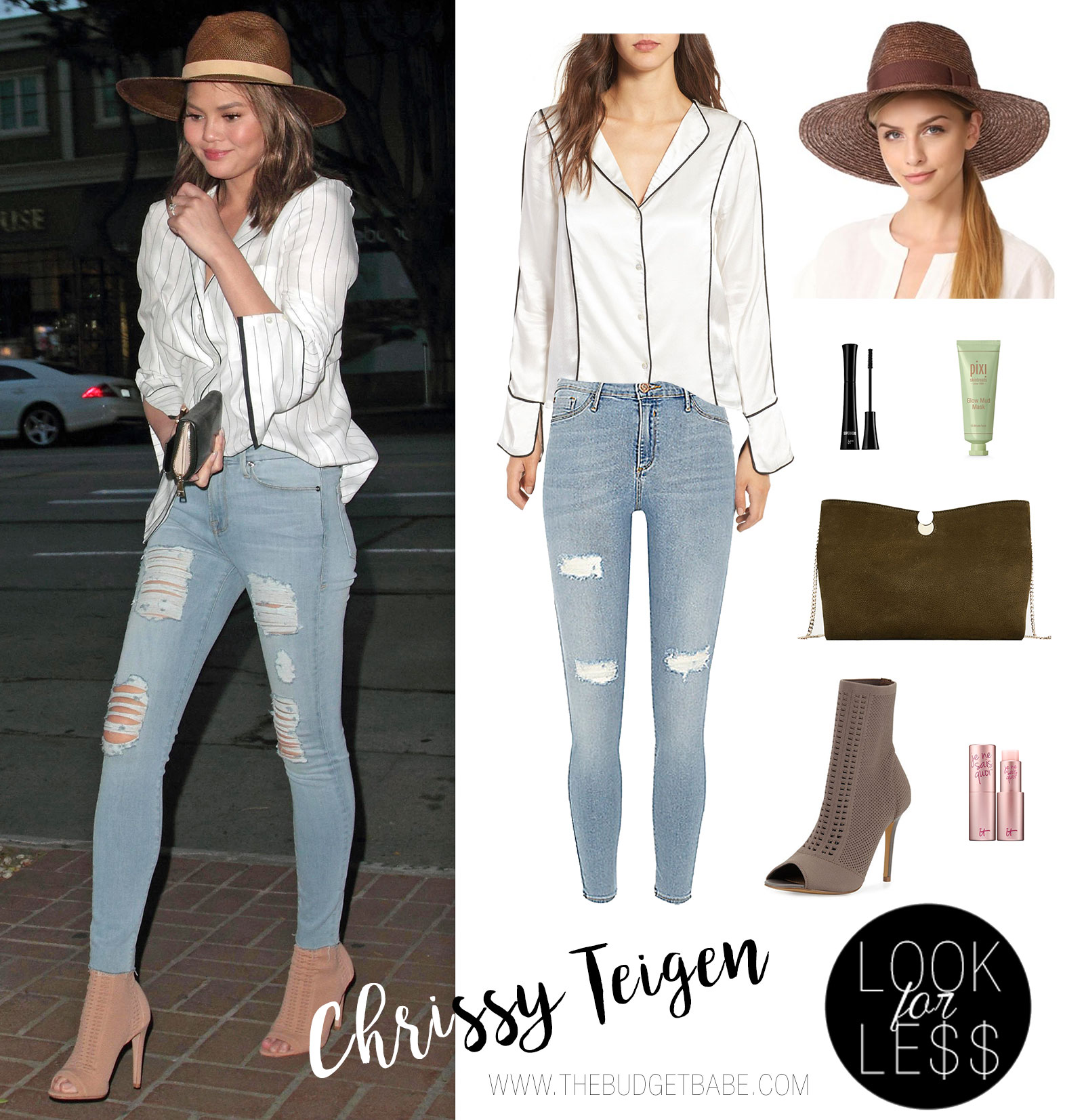 Chrissy Teigen wears the pajama trend with a Frame silk shirt and distressed skinny jeans.