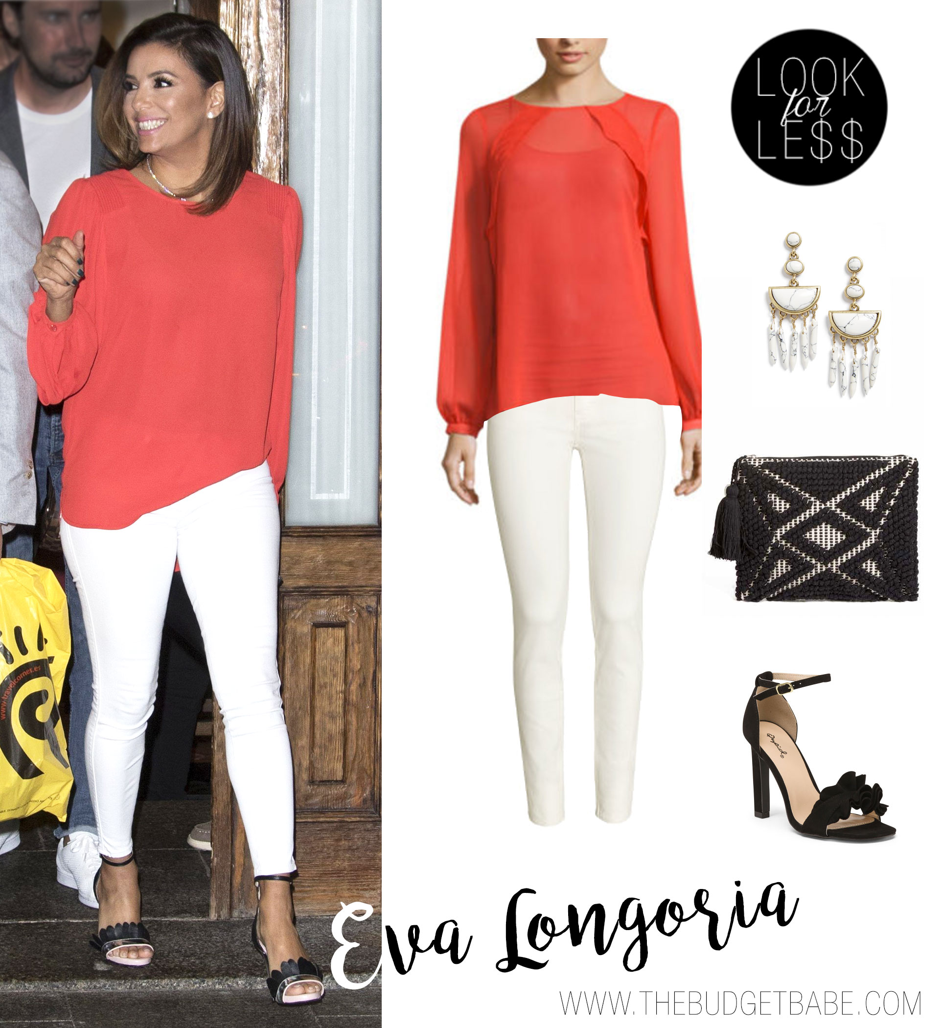 Eva Longoria wears a coral blouse with white pants.