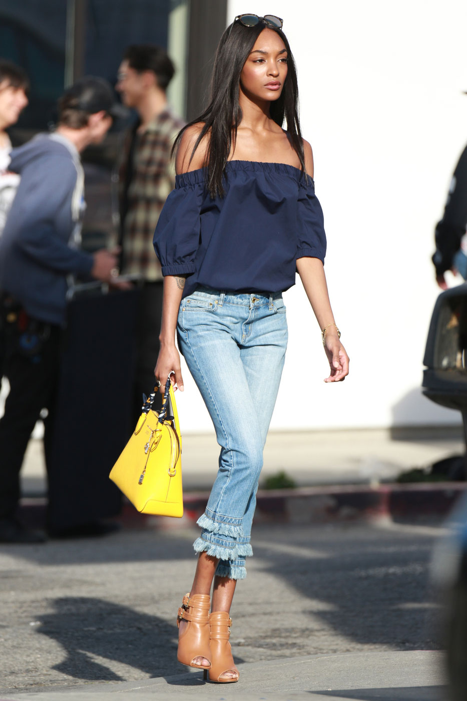 Jourdan Dunn's Off-the-Shoulder Top and Fringe Jeans Look for Less ...