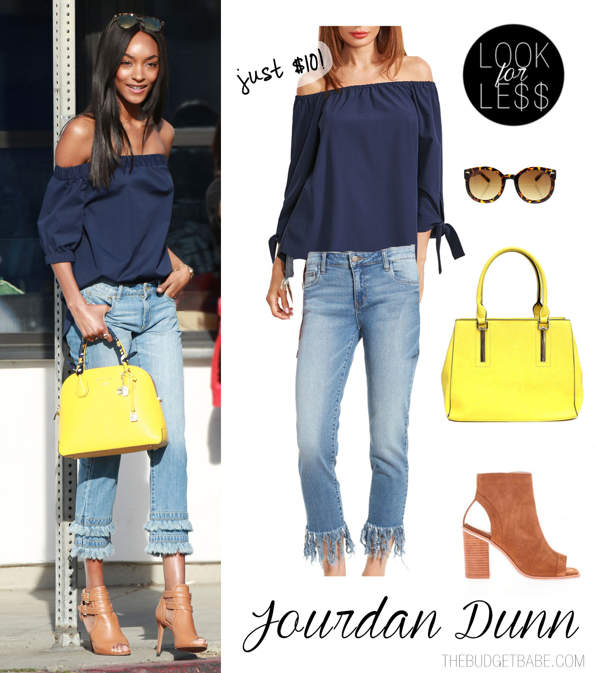 Jourdan Dunn pairs a navy off-the-shoulder top with fringe jeans and a yellow satchel.