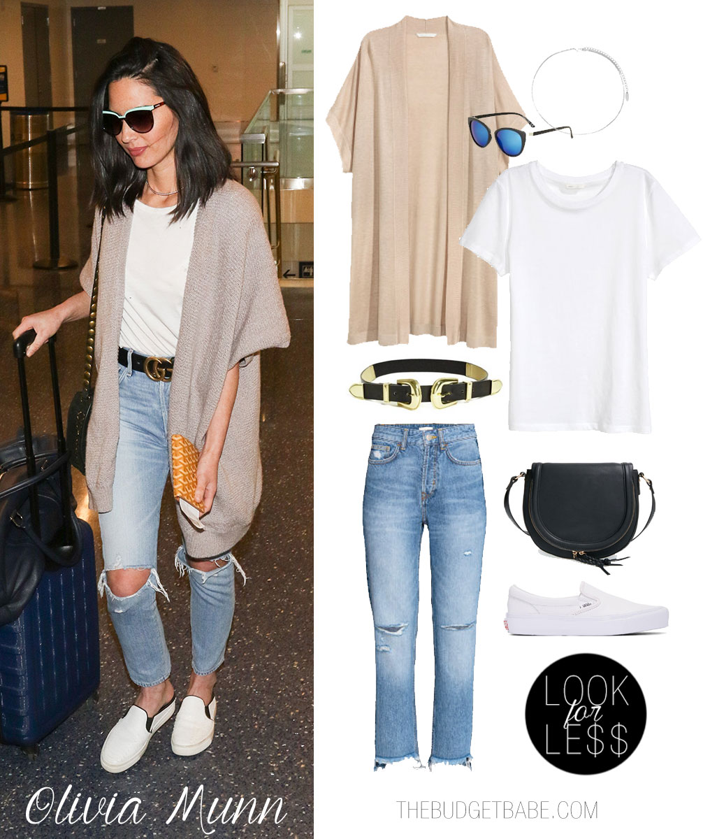 Get inspired by Olivia Munn's stylish airport style.