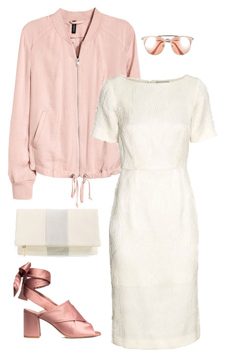 Outfit idea with white dress and blush bomber