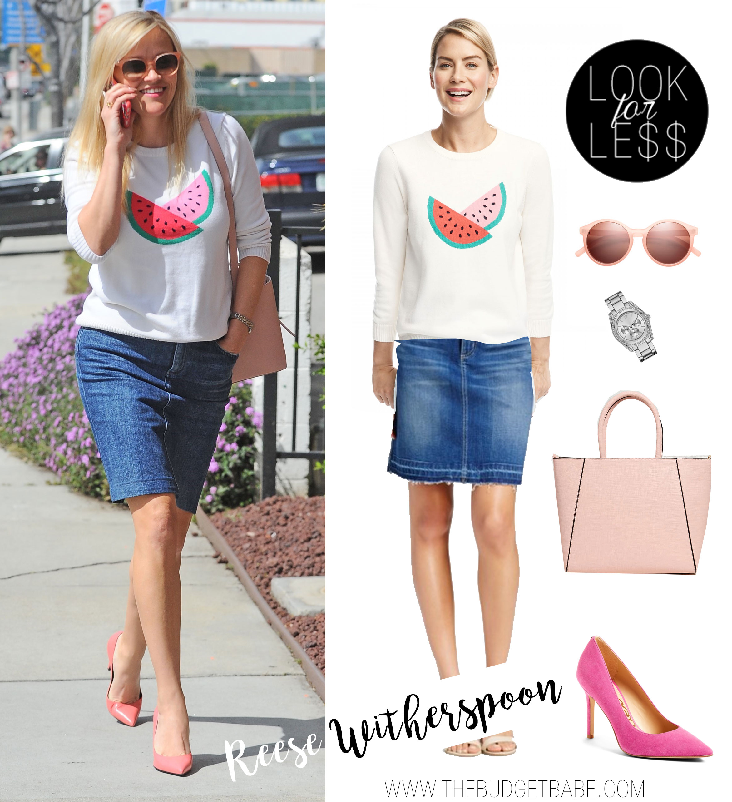 Reese Witherspoon wears a watermelon sweater with a denim skirt and pink accessories.
