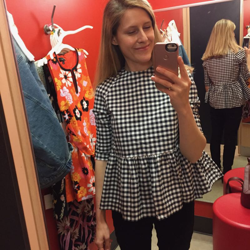 The Budget Babe reviews Victoria Beckham at Target with dressing room selfies and sizing details.