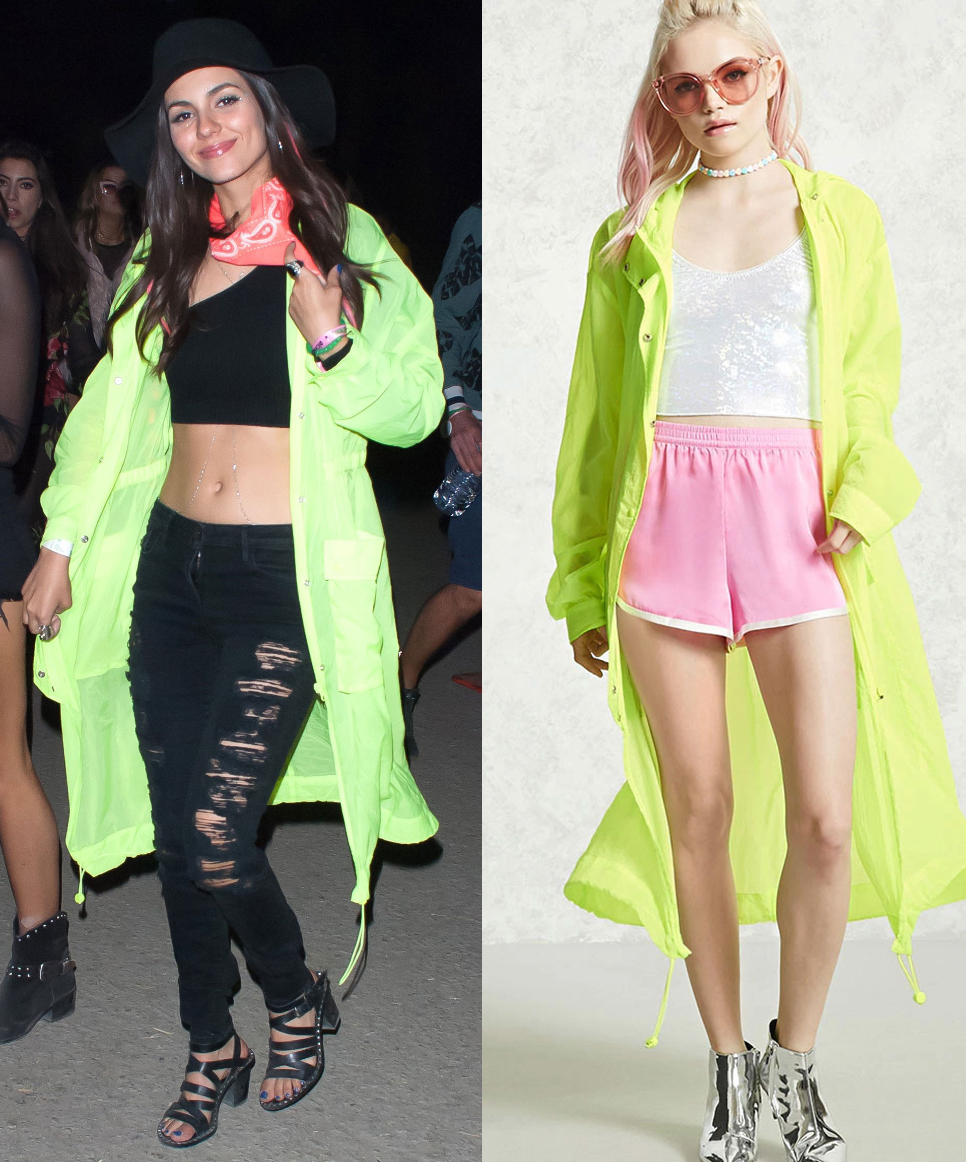 Victoria Justice wears a Forever 21 neon jacket at Coachella.