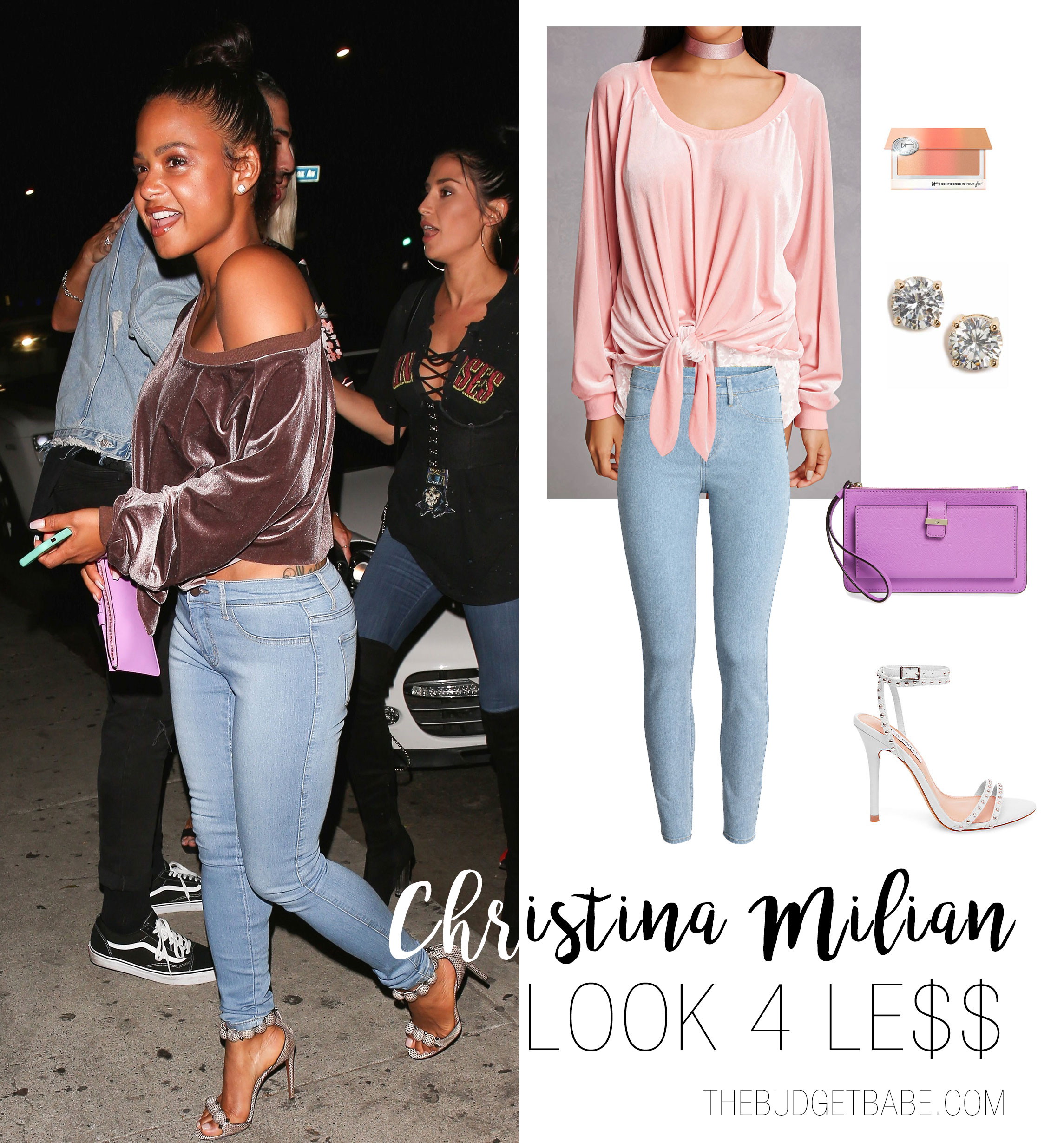 Christina Milian's velvet off-the-shoulder sweatshirt and skinny jeans look for less
