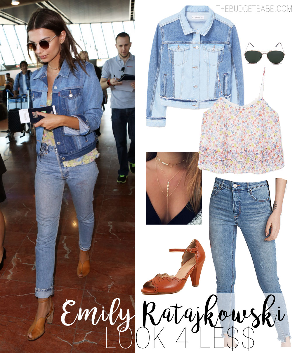 Emily Ratajkowski wears a Levi's denim jacket while jet-setting from Nice, France.