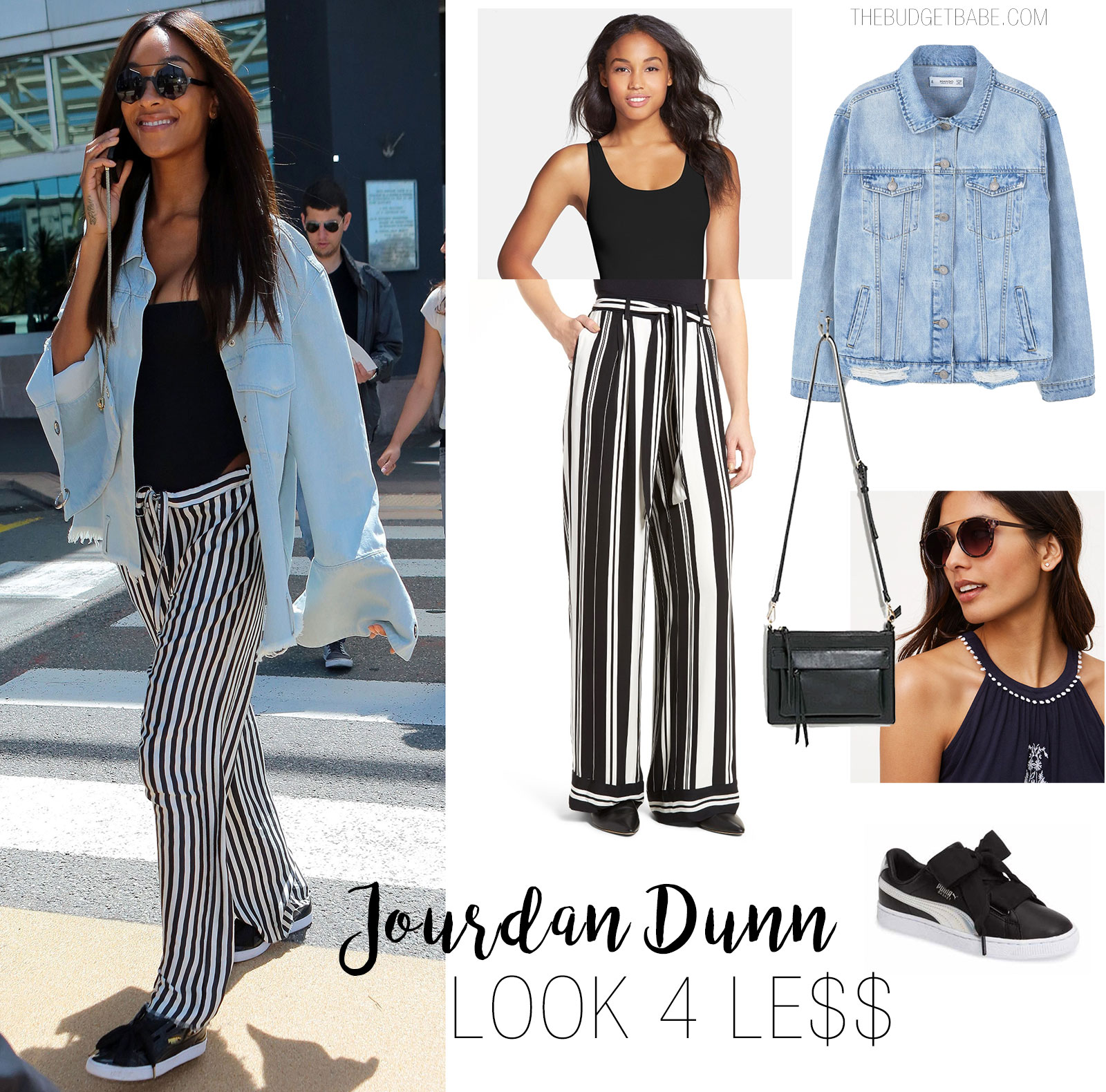 Jourdan Dunn wears vertical stripe pants with an oversized denim jacket and sneakers.