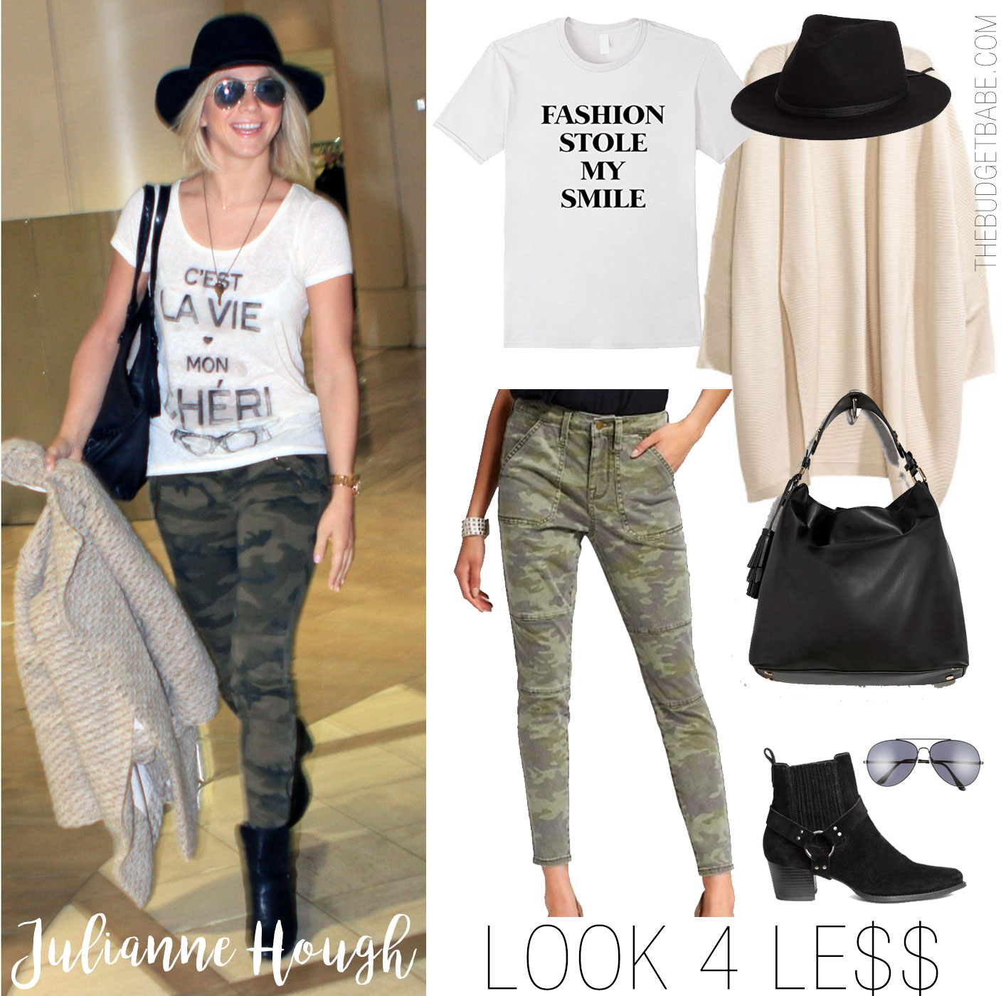 Julianne Hough's camo pants and graphic tee look for less is a cute and casual look to try.