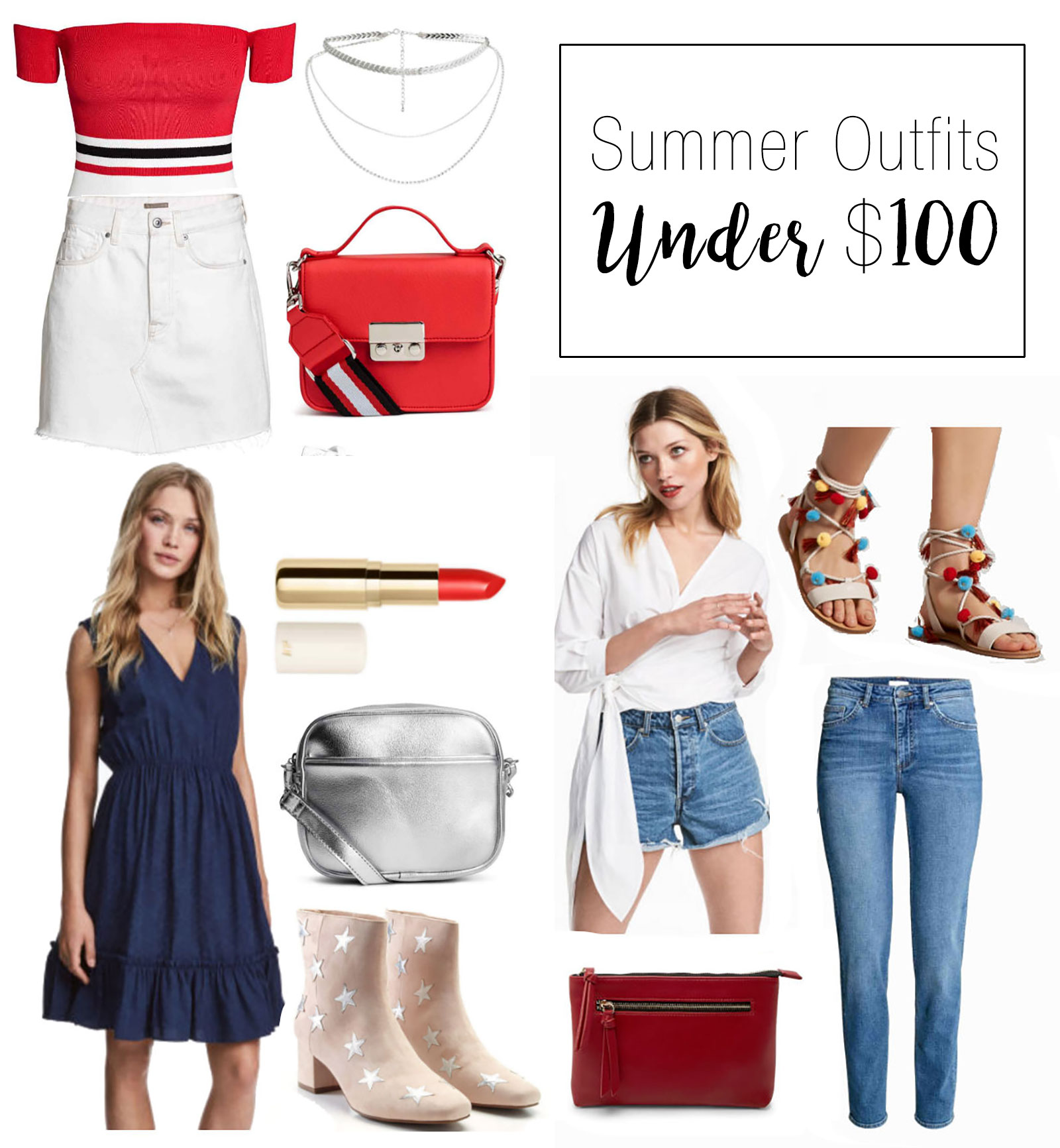 Cute summer outfit ideas under $100 total!