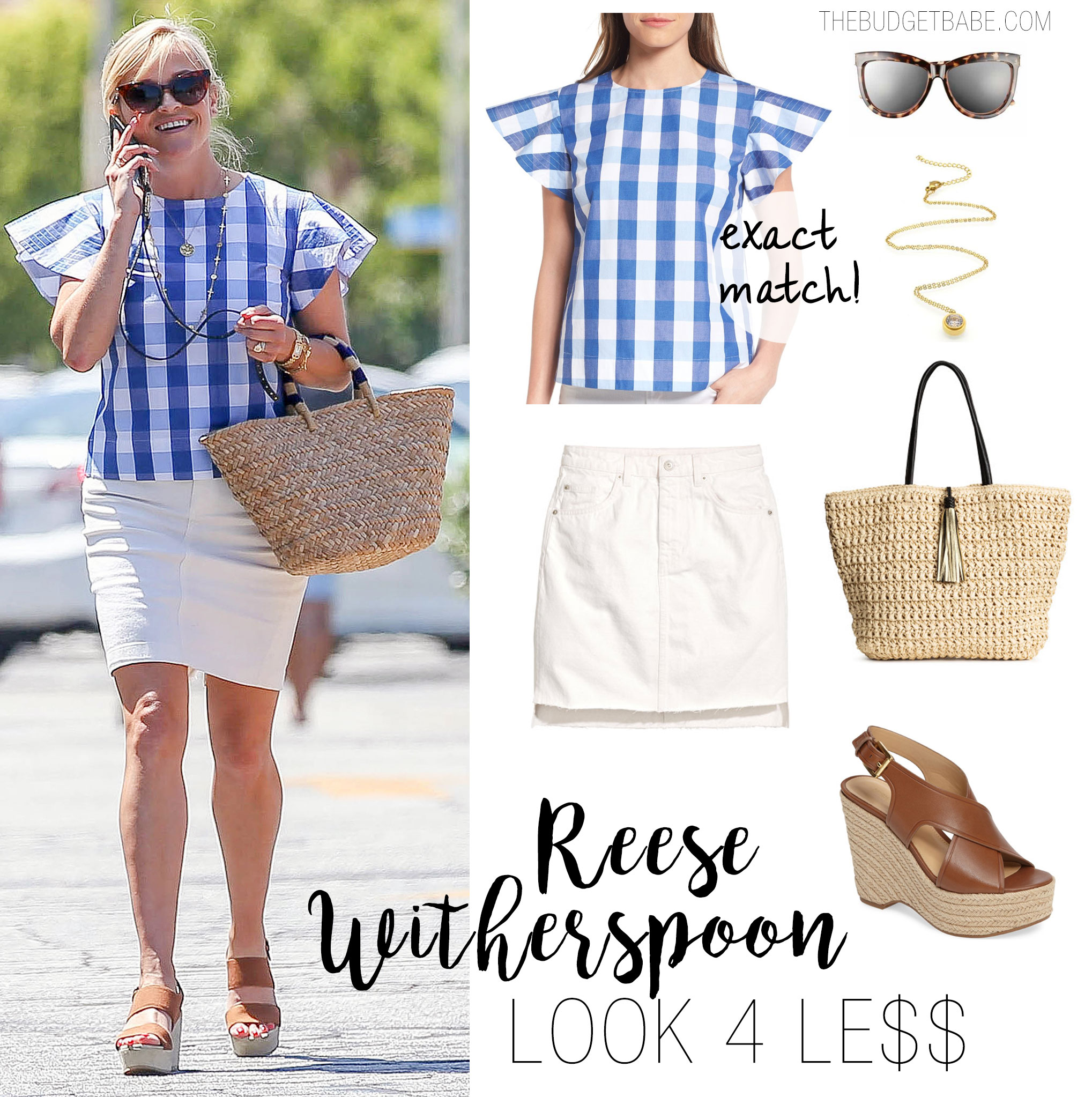 Reese Witherspoon Gingham Top and Off-White Skirt Look for Less