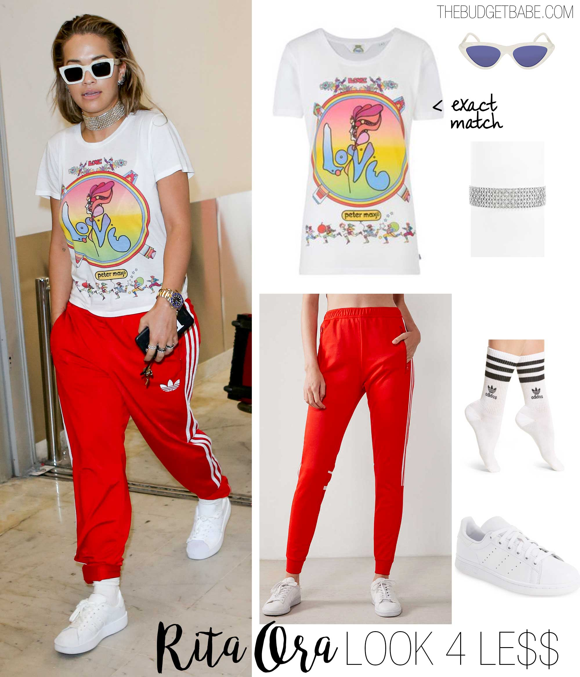 Rita Ora's 'Love' tee and adidas track pants look for less