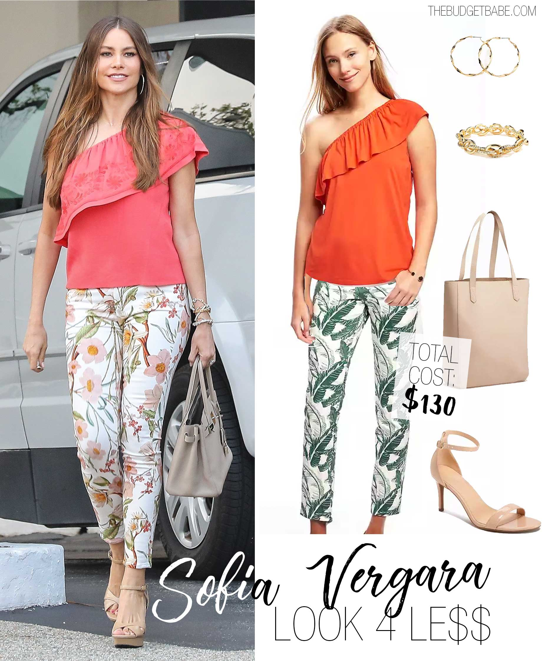 Sofia Vergara wears a one shoulder coral ruffle top with floral print pants and nude platform sandals.