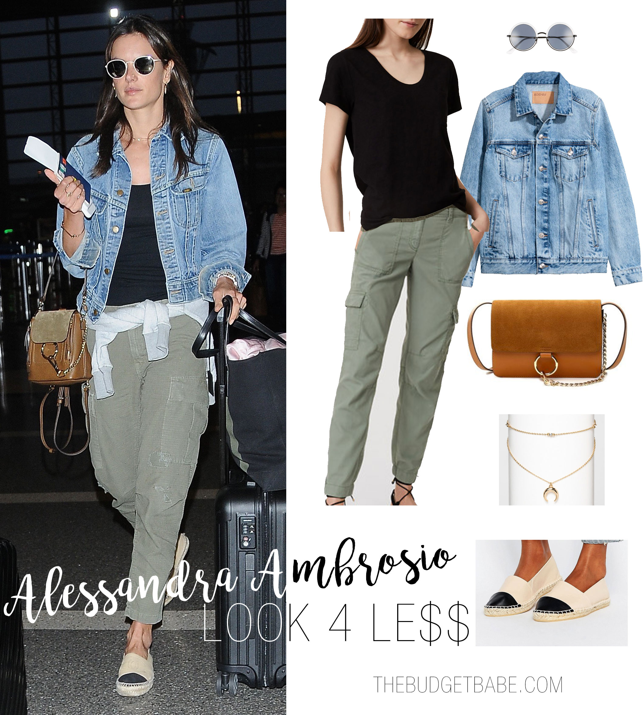 Alessandra Ambrosio's airport style is casual and cool, with a black tee, olive cargos and denim jacket.
