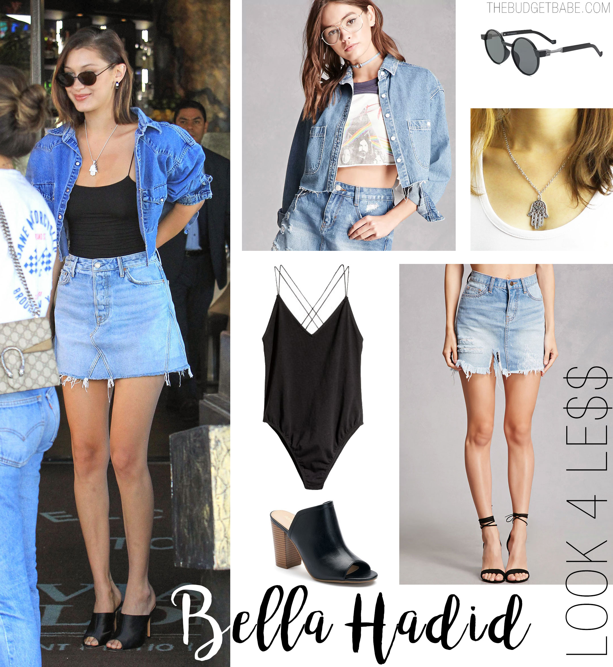 Bella Hadid wears a denim mini skirt and crop denim jacket.