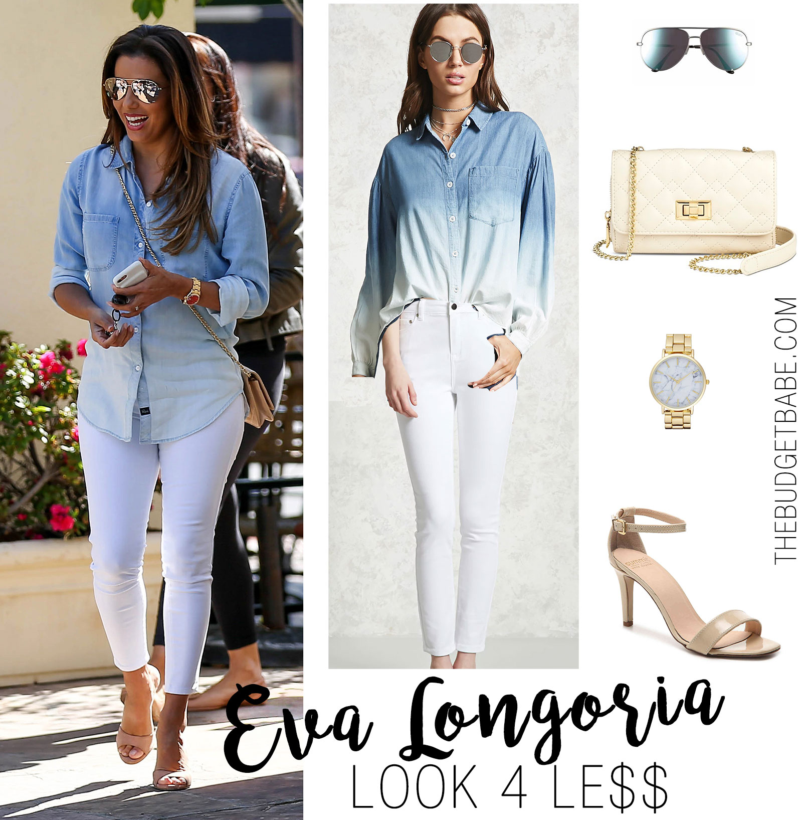 Eva Longoria is all smiles in her ombre denim shirt, white skinny jeans, and nude slide heels.