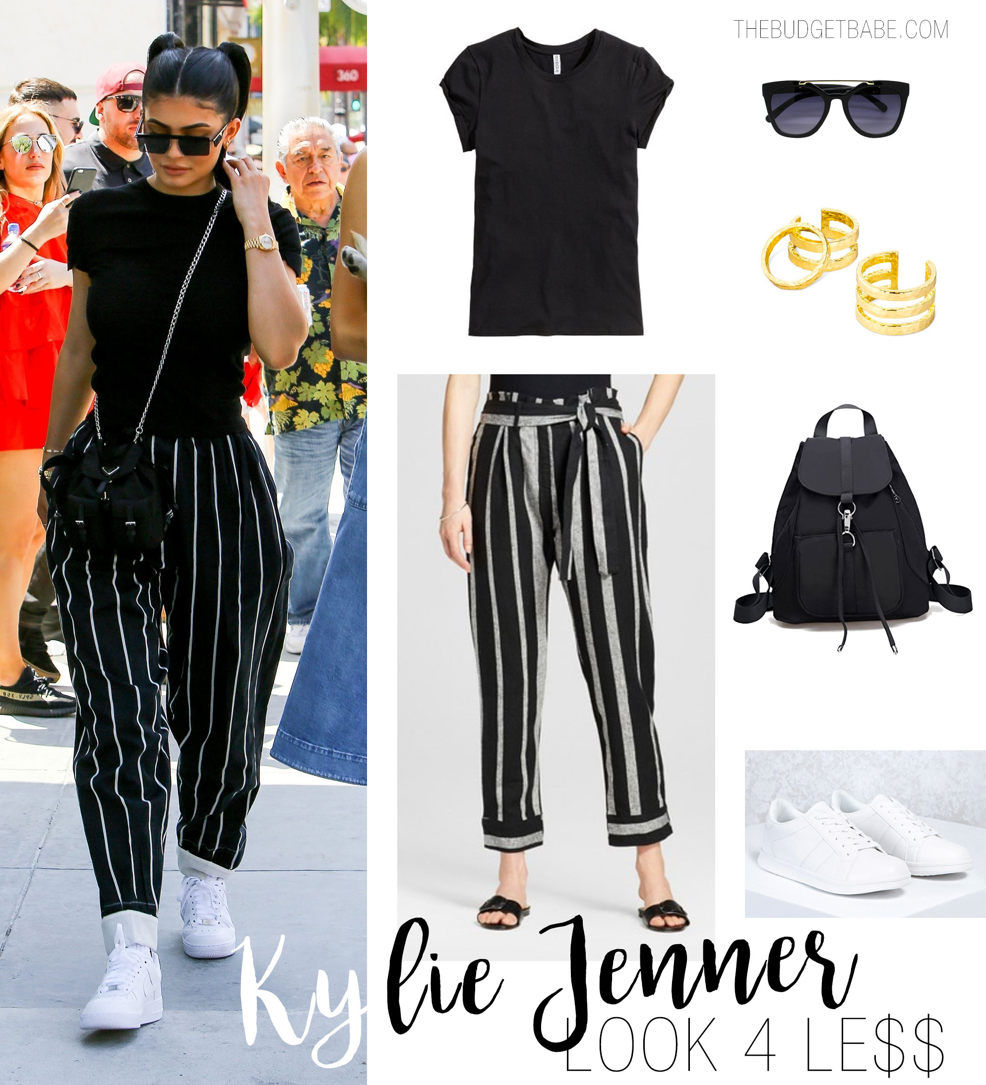 Kylie Jenner wears Celine vertical striped trousers while out and about with sister Kendall on Father's Day.