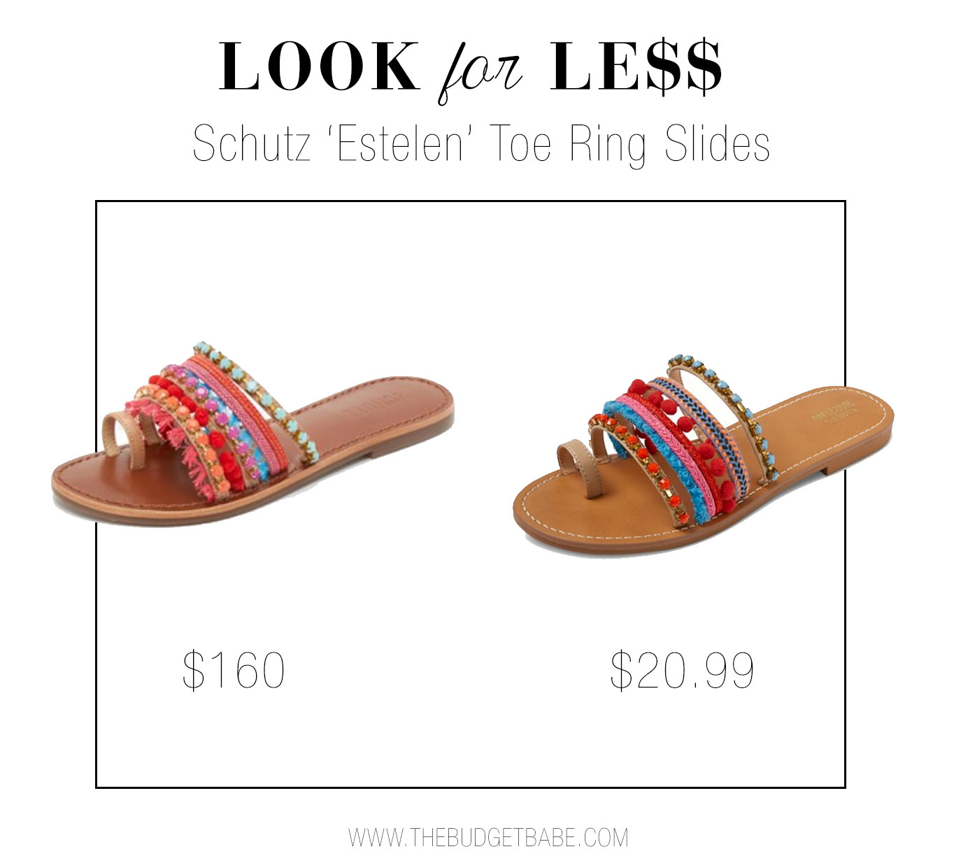 Get the look of Schutz's boho slide sandal for a fraction of the cost.