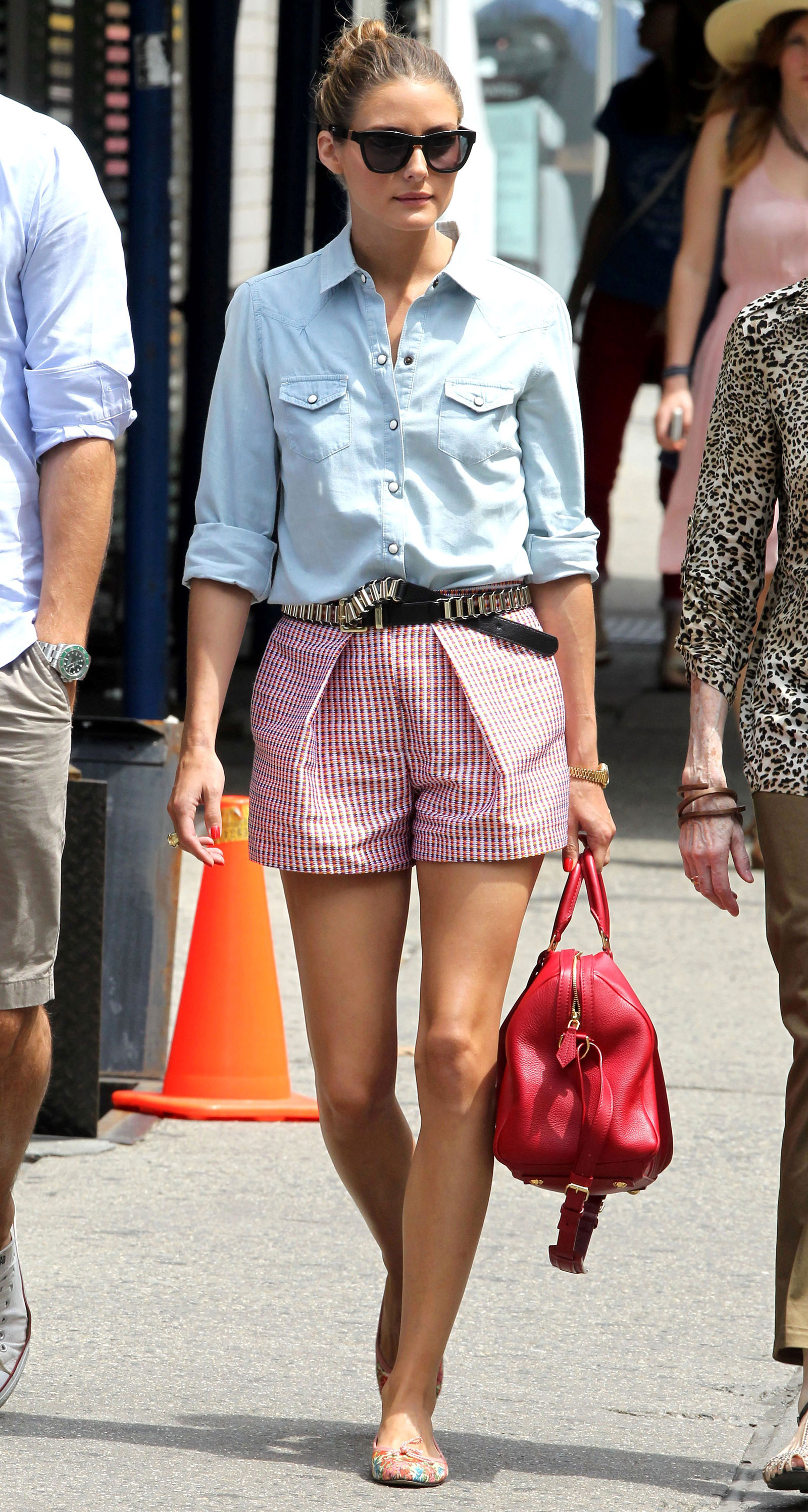 Olivia Palermo's denim shirt and red seersucker shorts look is perfect for summer holidays like the Fourth of July!
